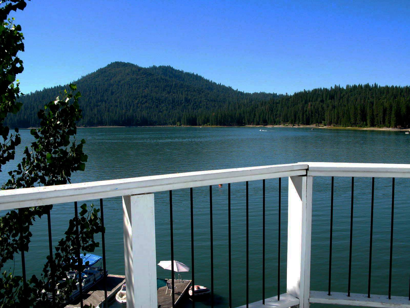 Bass Lake Home Rentals Deck View of Bass Lake in the Yosemite area of California