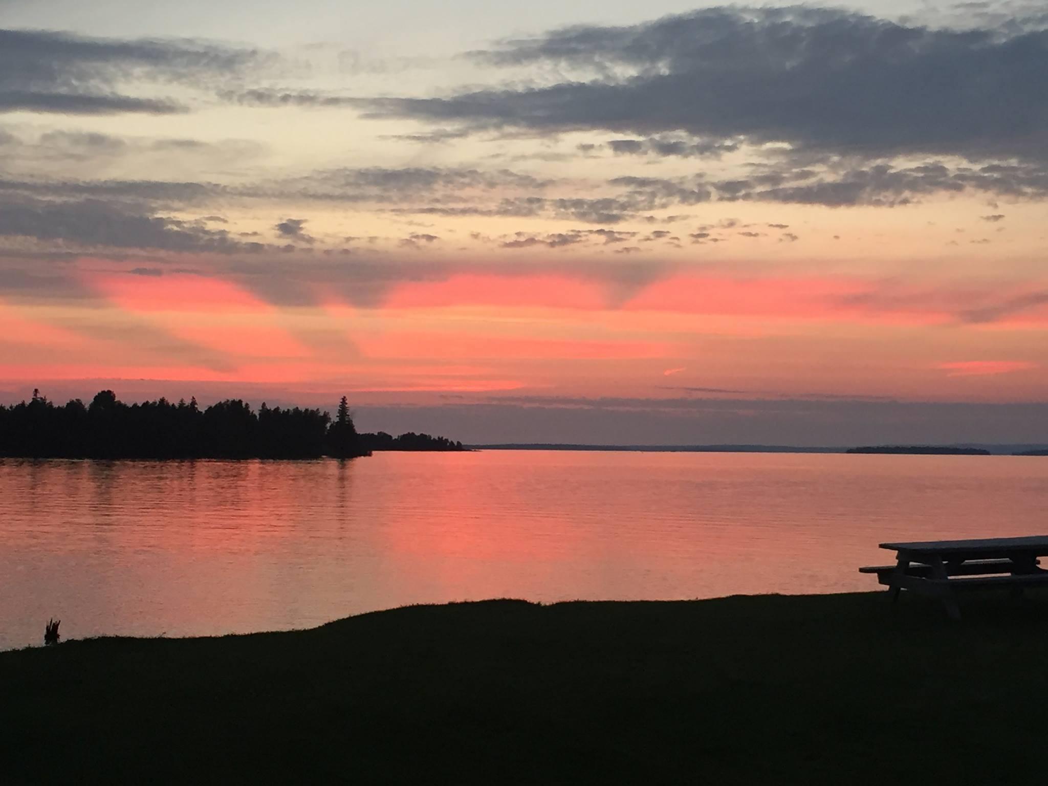 Sunset overlooking Lake Huron on Drummond Island Michigan Northern Properties