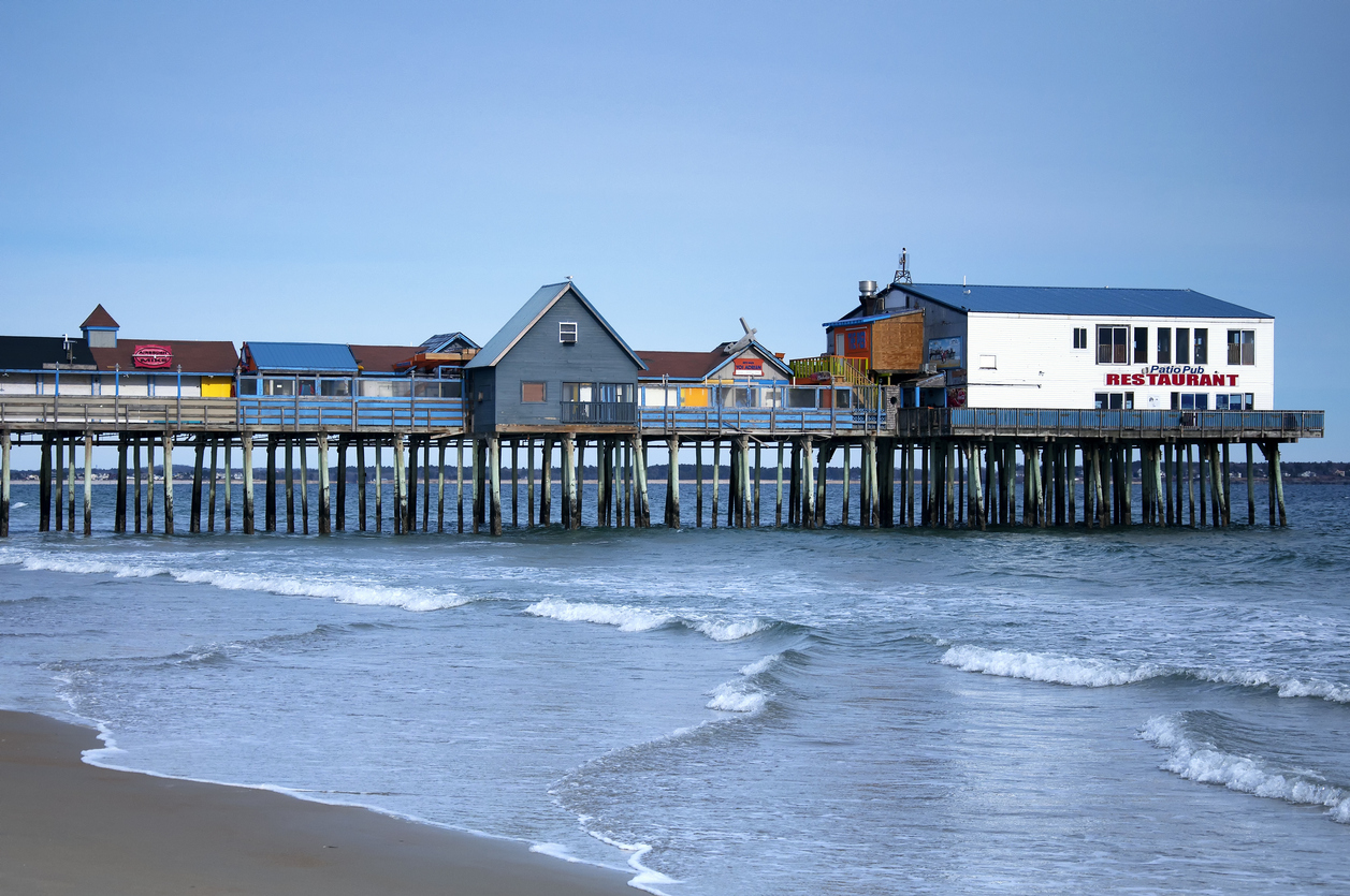 Old Orchard Beach Maine Famous Pier Oceanside Beach Community.