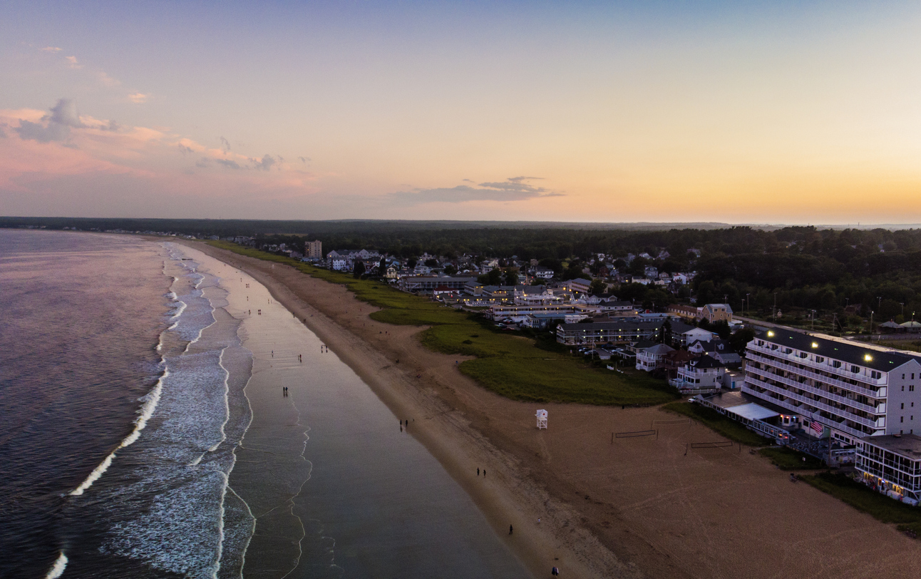 Coastal Town South of Portland Maine Old Orchard Beach at Sunset