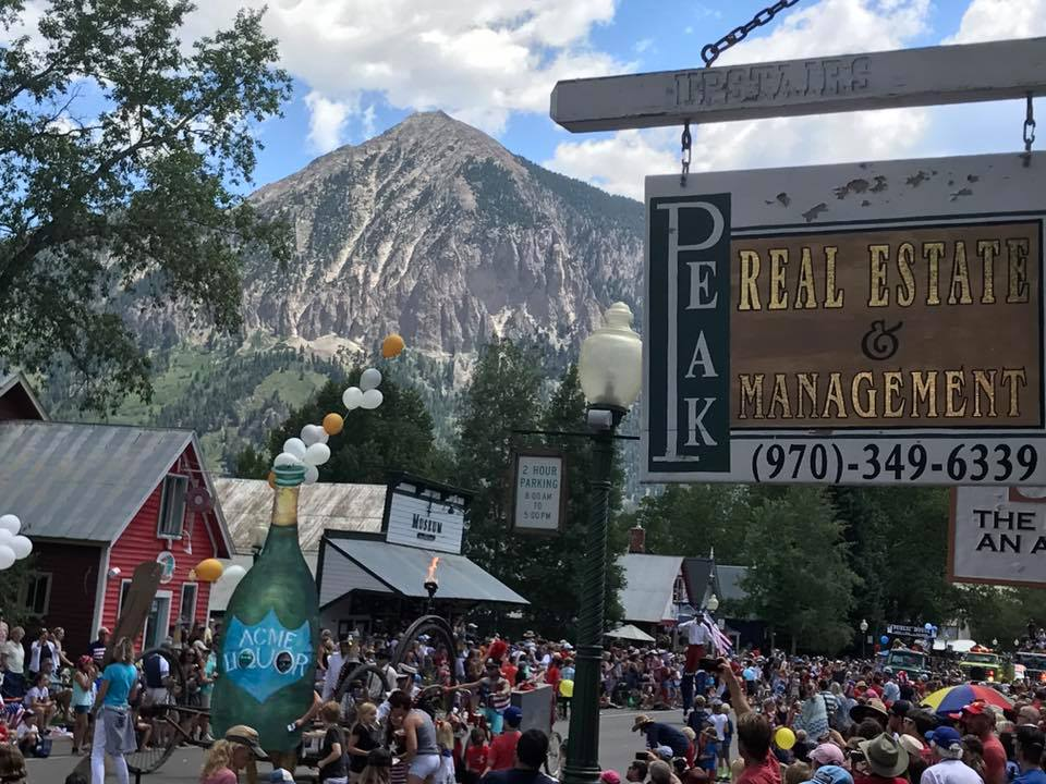 Peak Property Management and Sales Office in Crested Butte Colorado during Summertime 4th of July