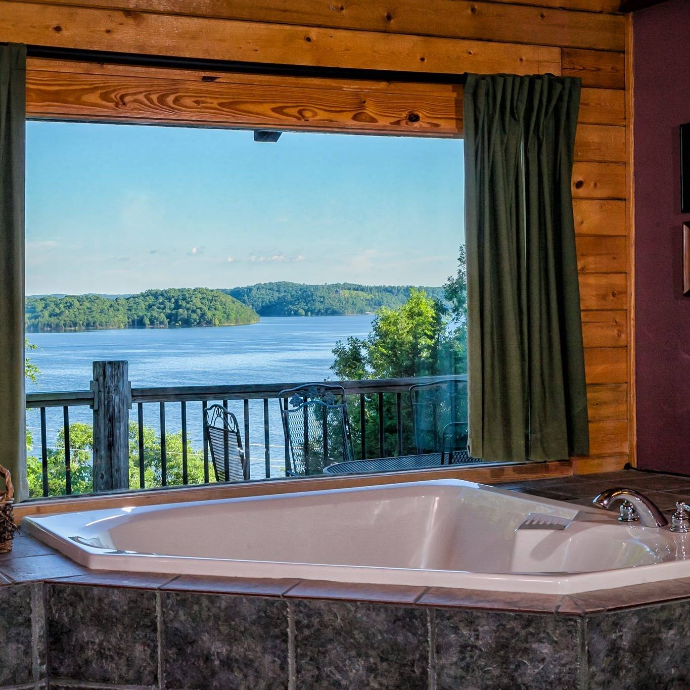 Whispering Hills Cabins Rentals on Beaver Lake View from Jacuzzi Tub