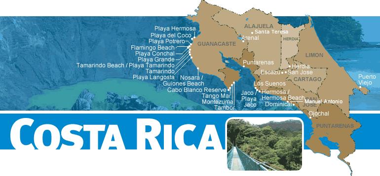 Costa rica vacation rental map find rentals for Costa rica vacations rentals