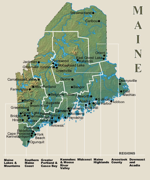 Maine vacation rental map find rentals for Fishing access near me