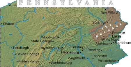 Pennsylvania Vacation Rental Map  Find Rentals