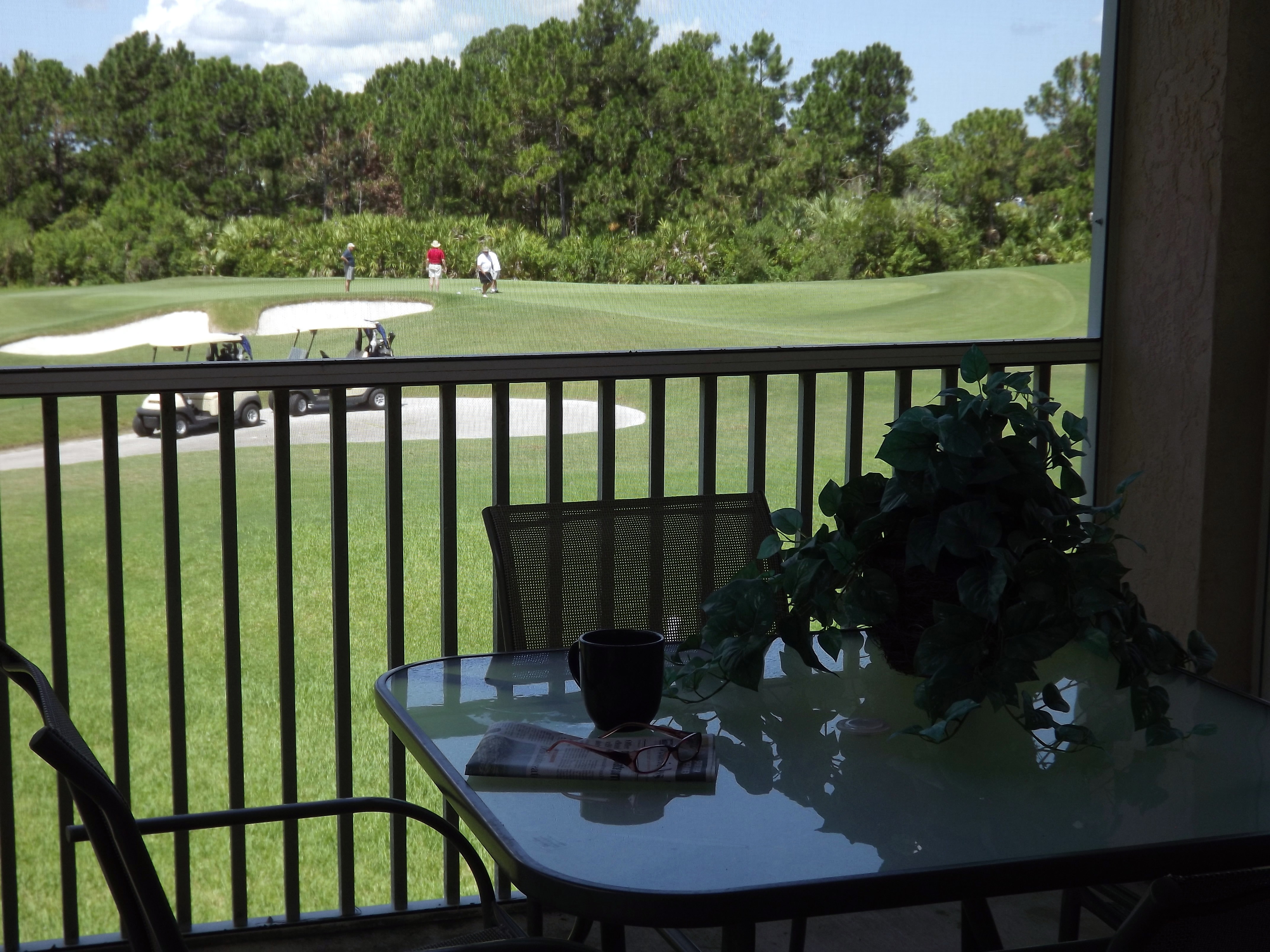 Screened patios, some with golf views