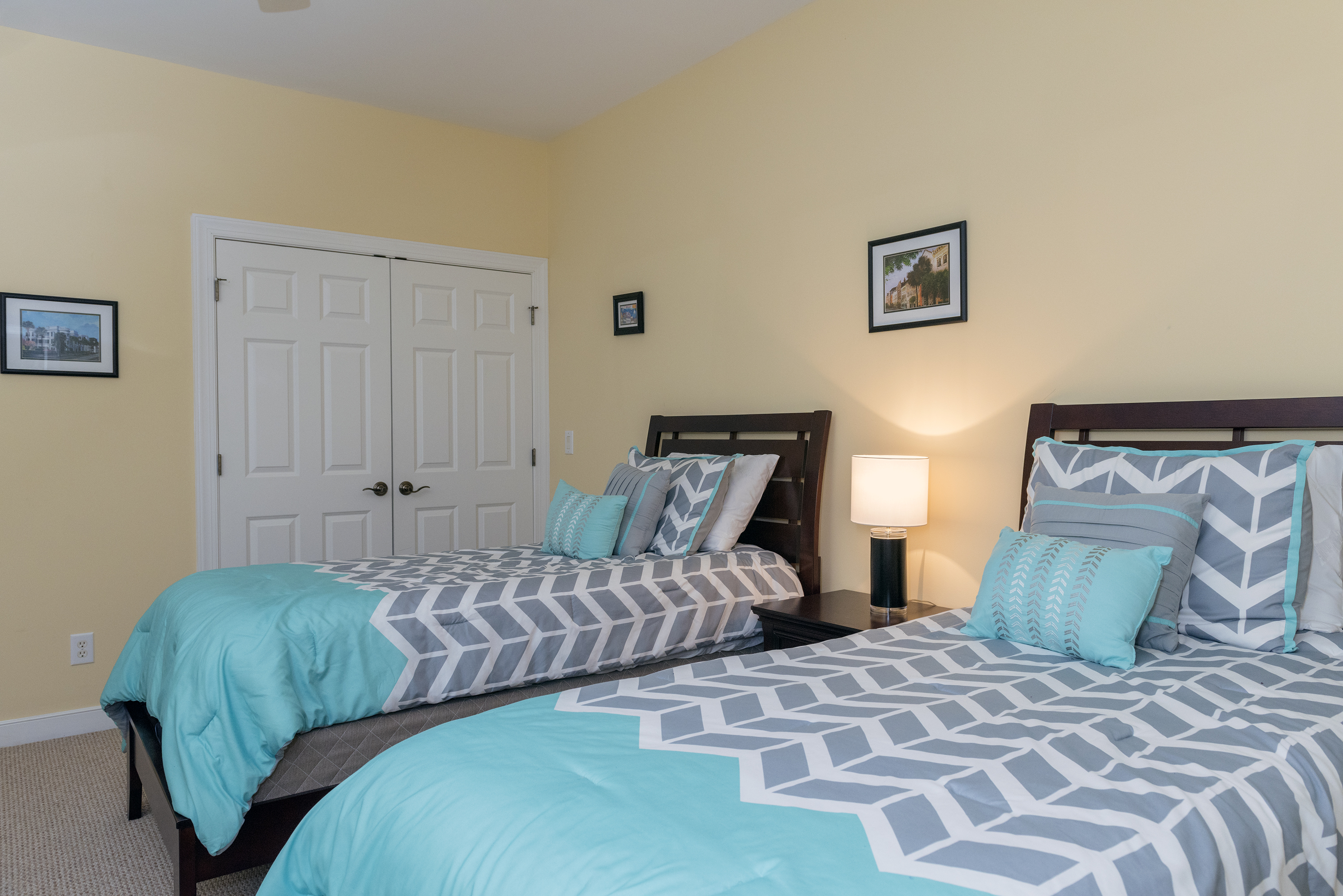 The 4th bedroom has two twins beds and a large closet.