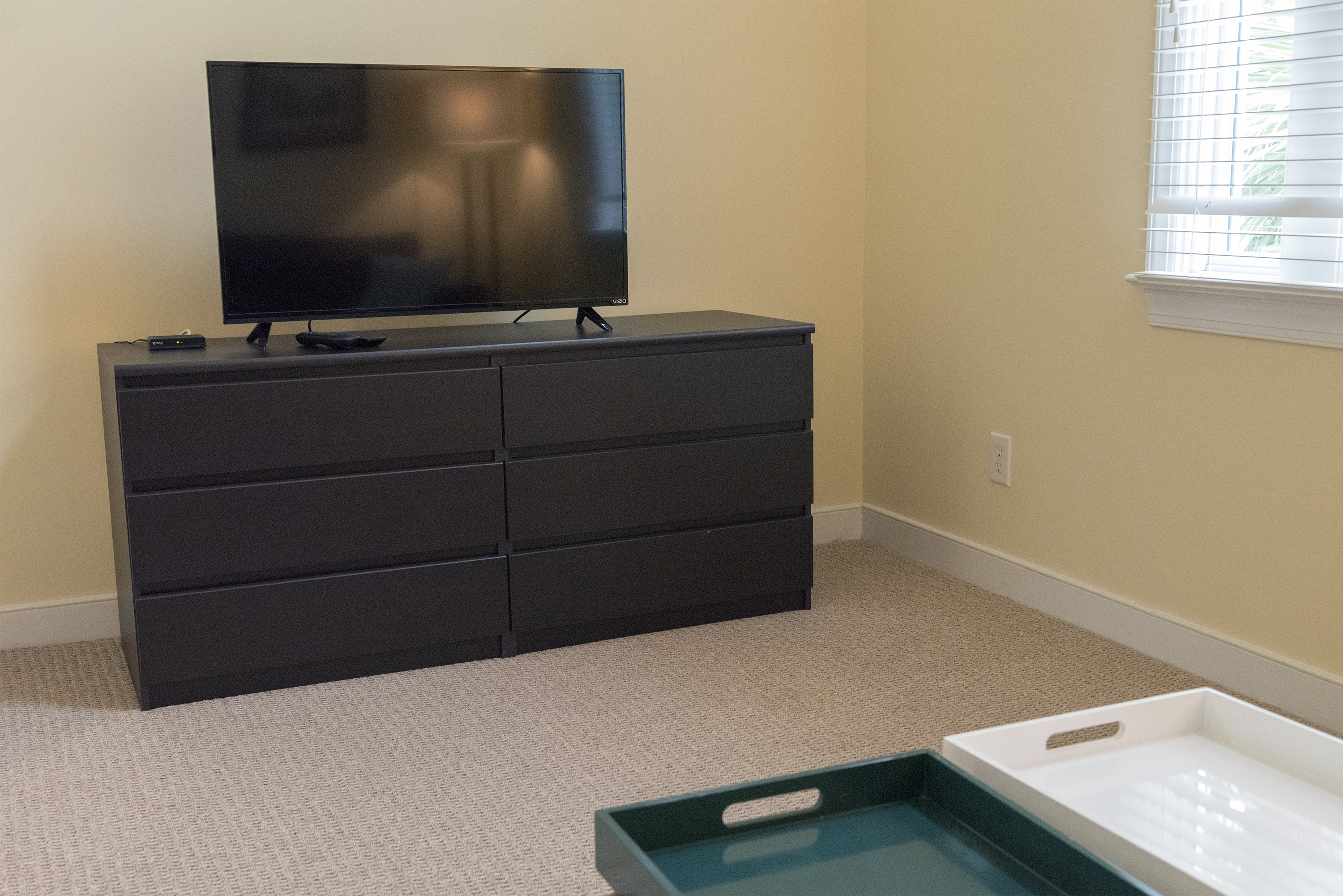 """It has a sofa that opens to a queen bed and 40"""" HDTV."""