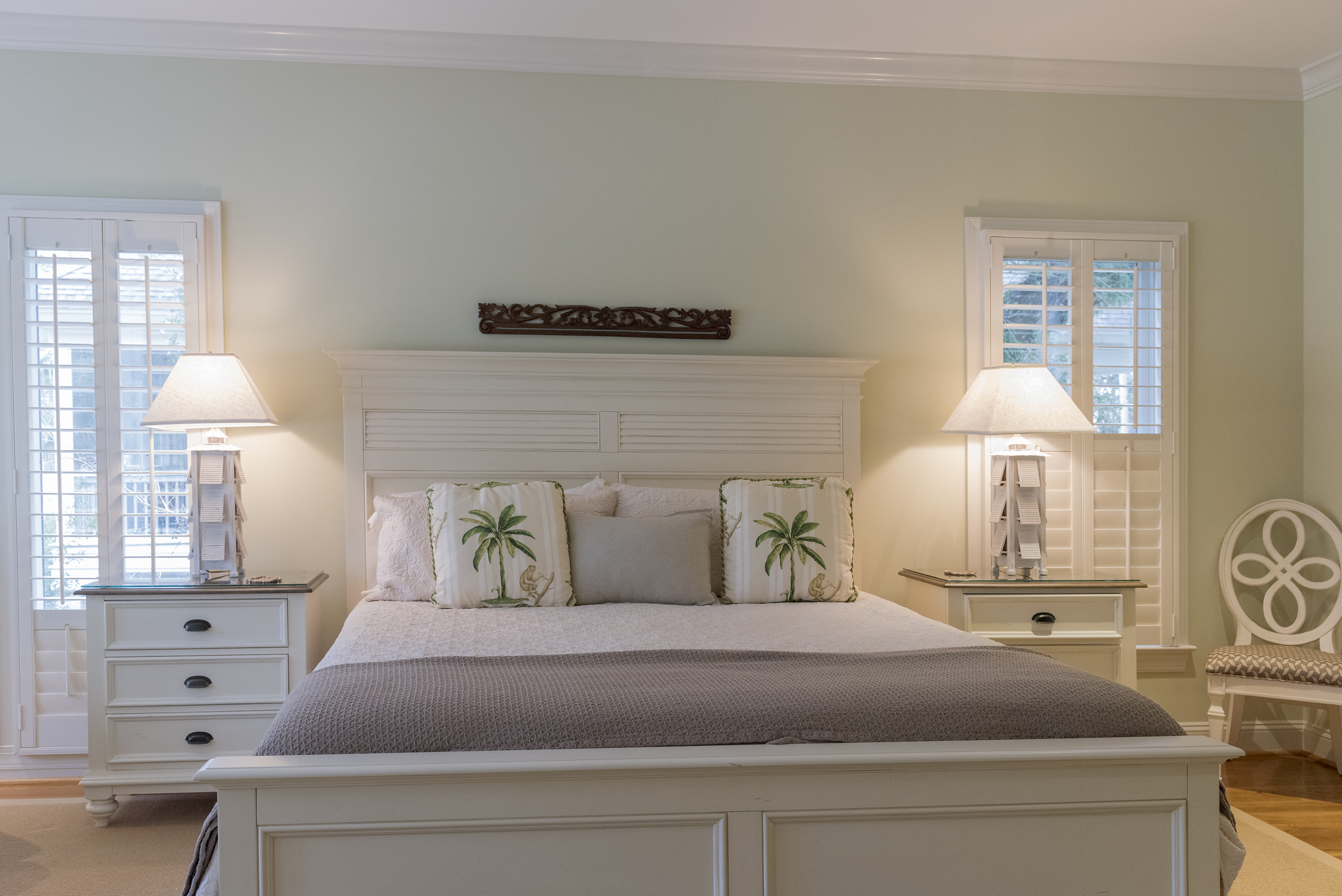 Comfortable king bed in the master.
