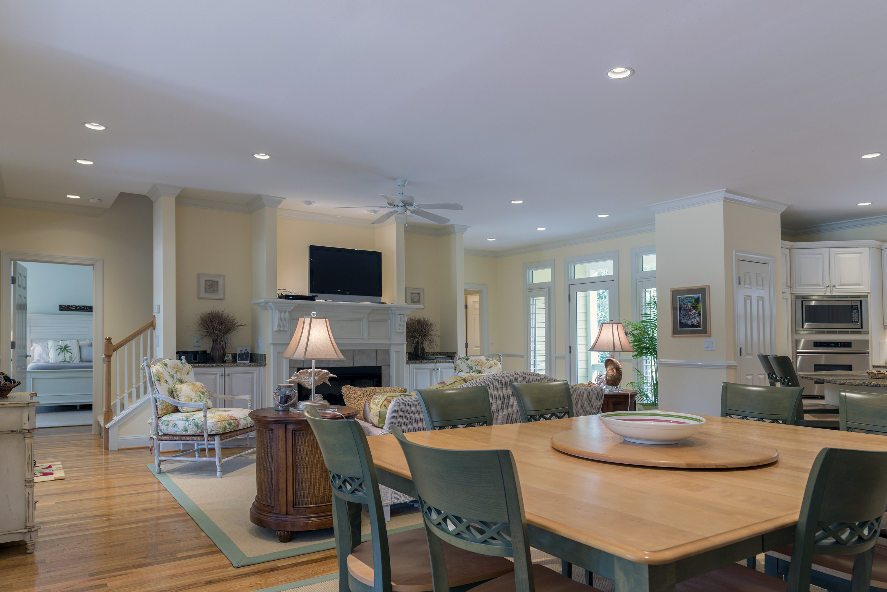 Open floor plan with kitchen, living room, dining room and sunroom!  High ceilings, high-end furnishings!