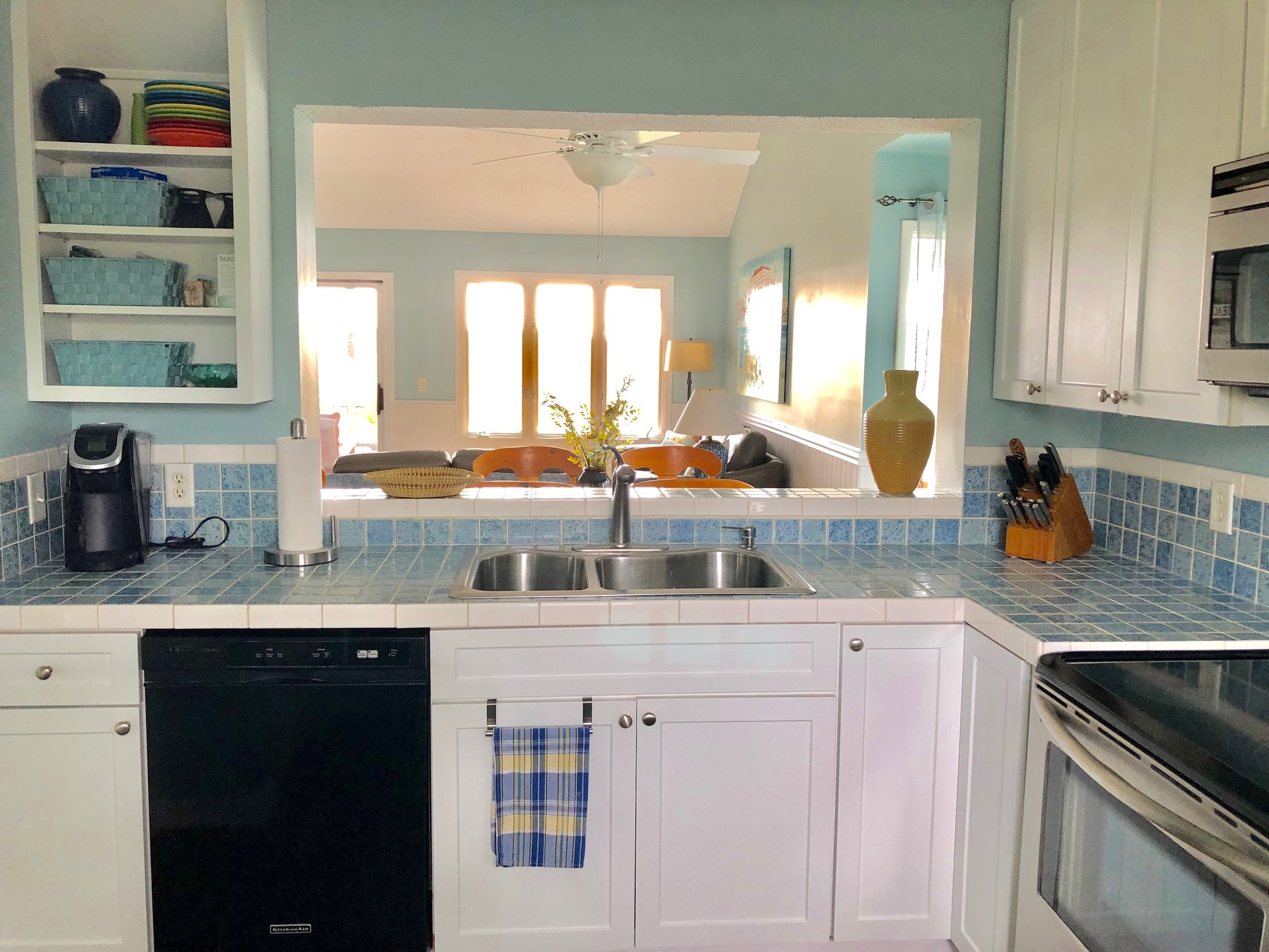 Colorful, updated kitchen