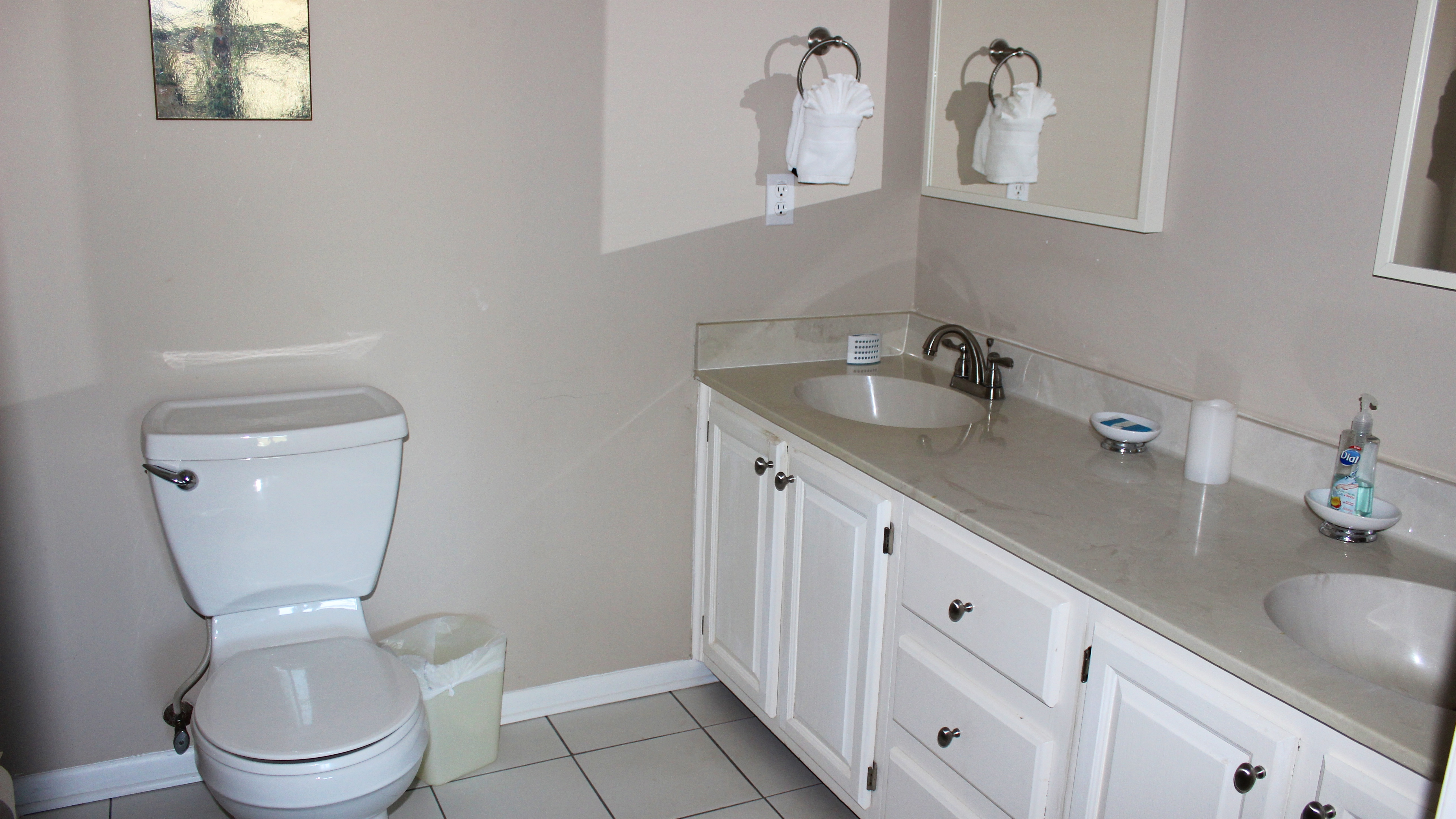 The master bathroom has also been renovated and has a large double vanity.