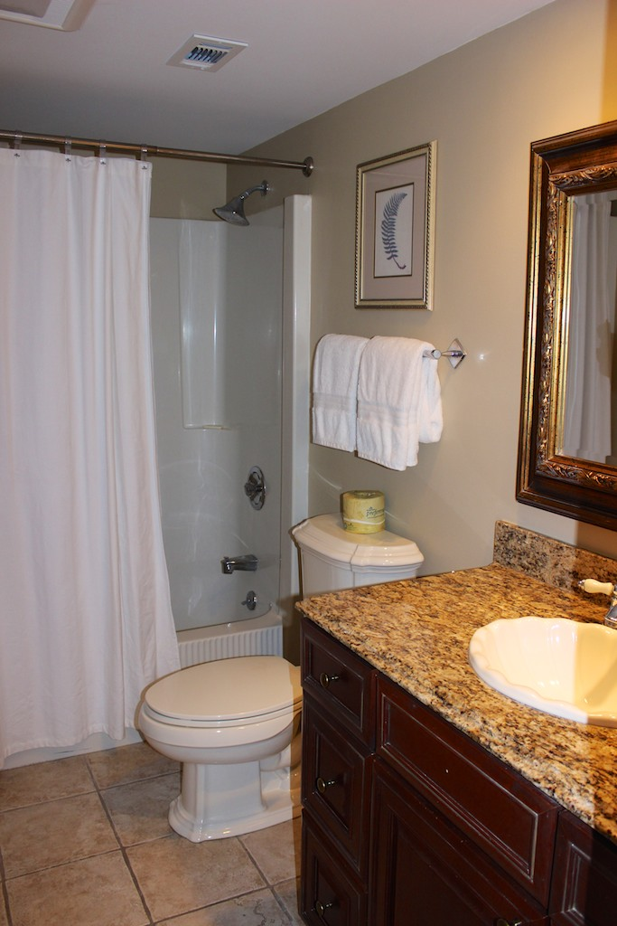 The master bath has granite counters and a tub/shower.