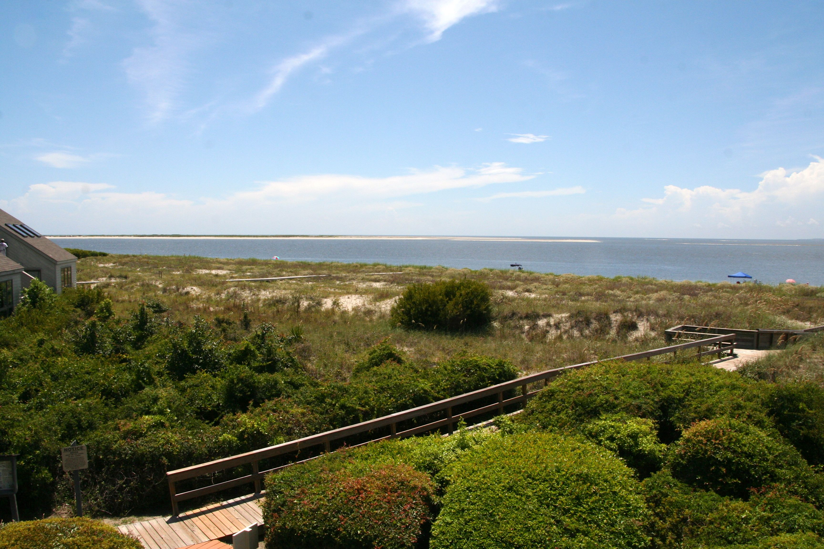 The view from the deck is amazing. To the left is the ocean and Devereux banks.