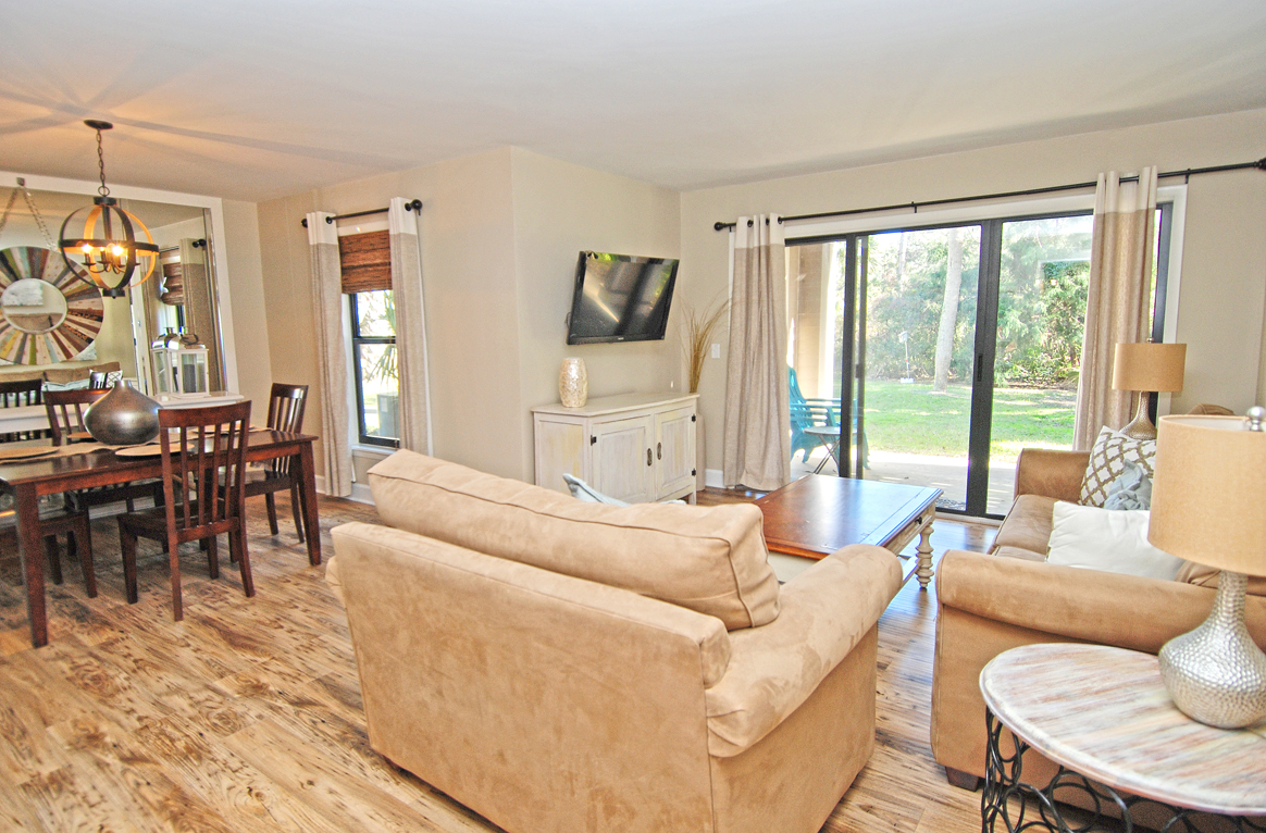 Comfortable furnishings and a mounted HDTV are a few of the great touches.