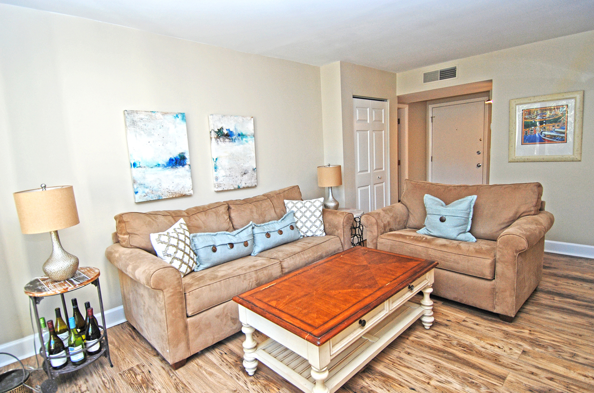 This living room invites you and your guests to relax and enjoy your holiday.