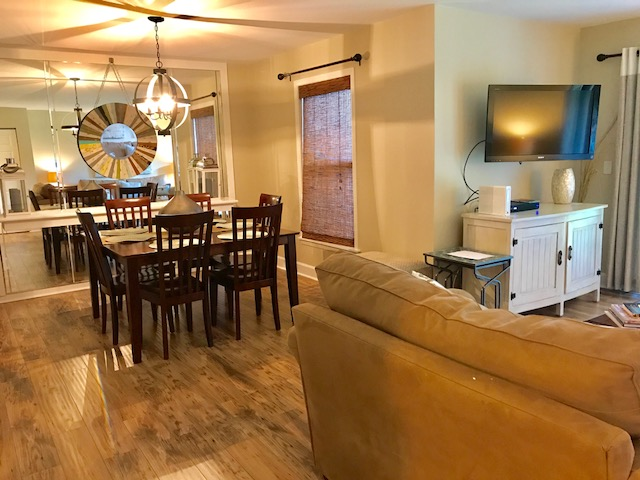 The open floor plan allows everyone to gather together.