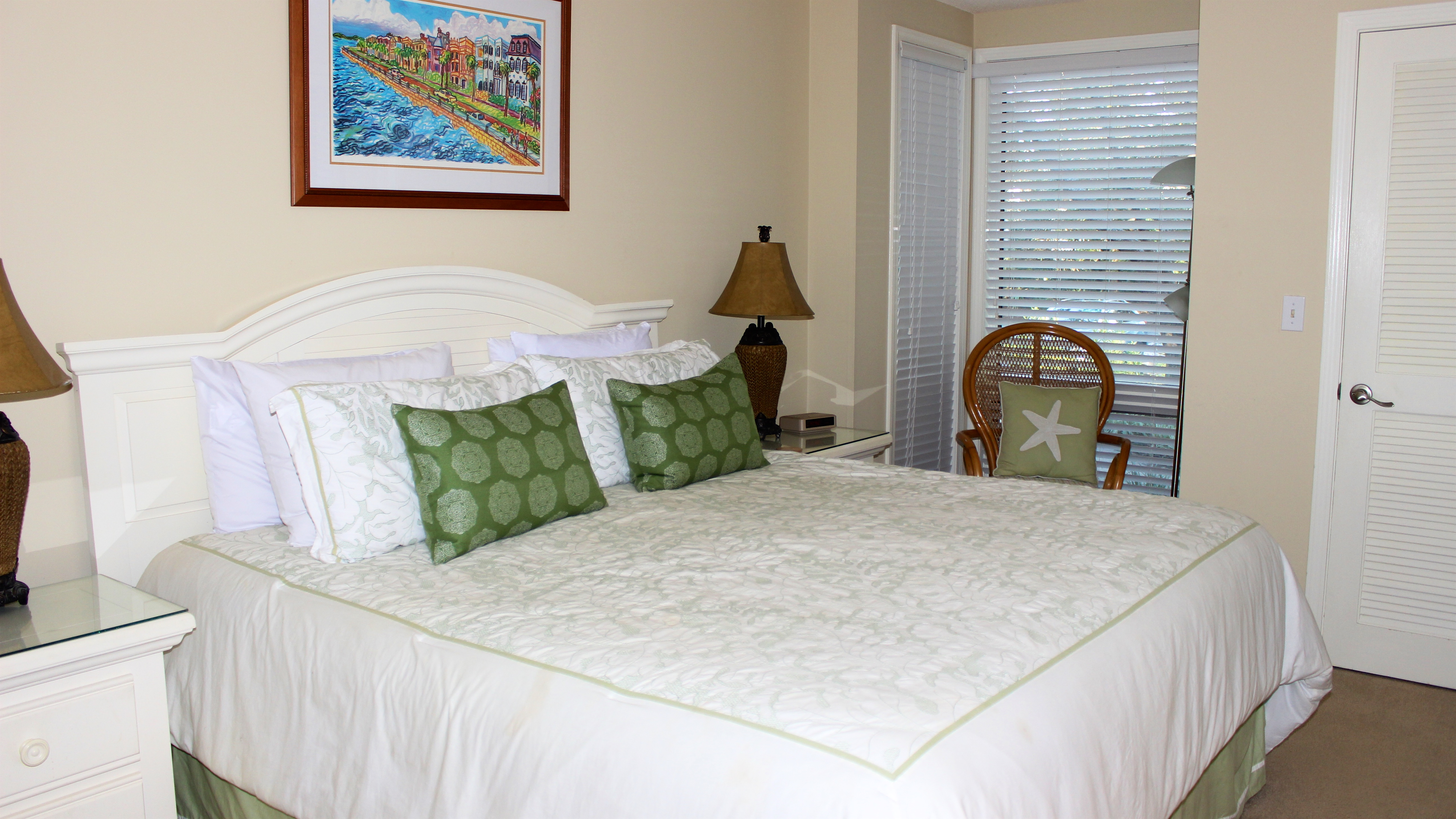 The master bedroom has a king bed.