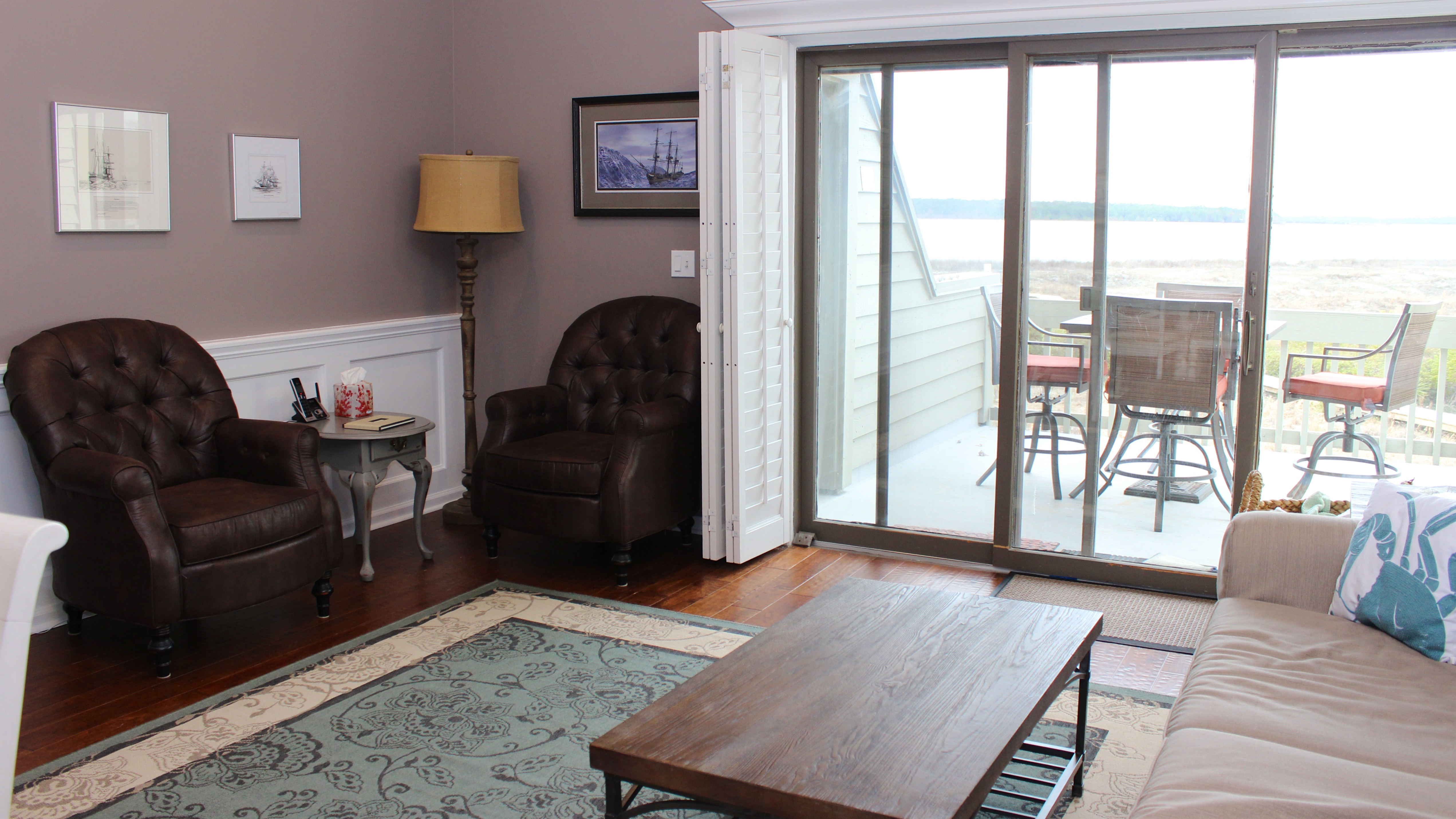 Enjoy the views of the ocean and Edisto River from the living room.