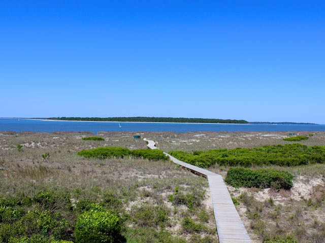 Ahead is the boardwalk to Pelican Beach.