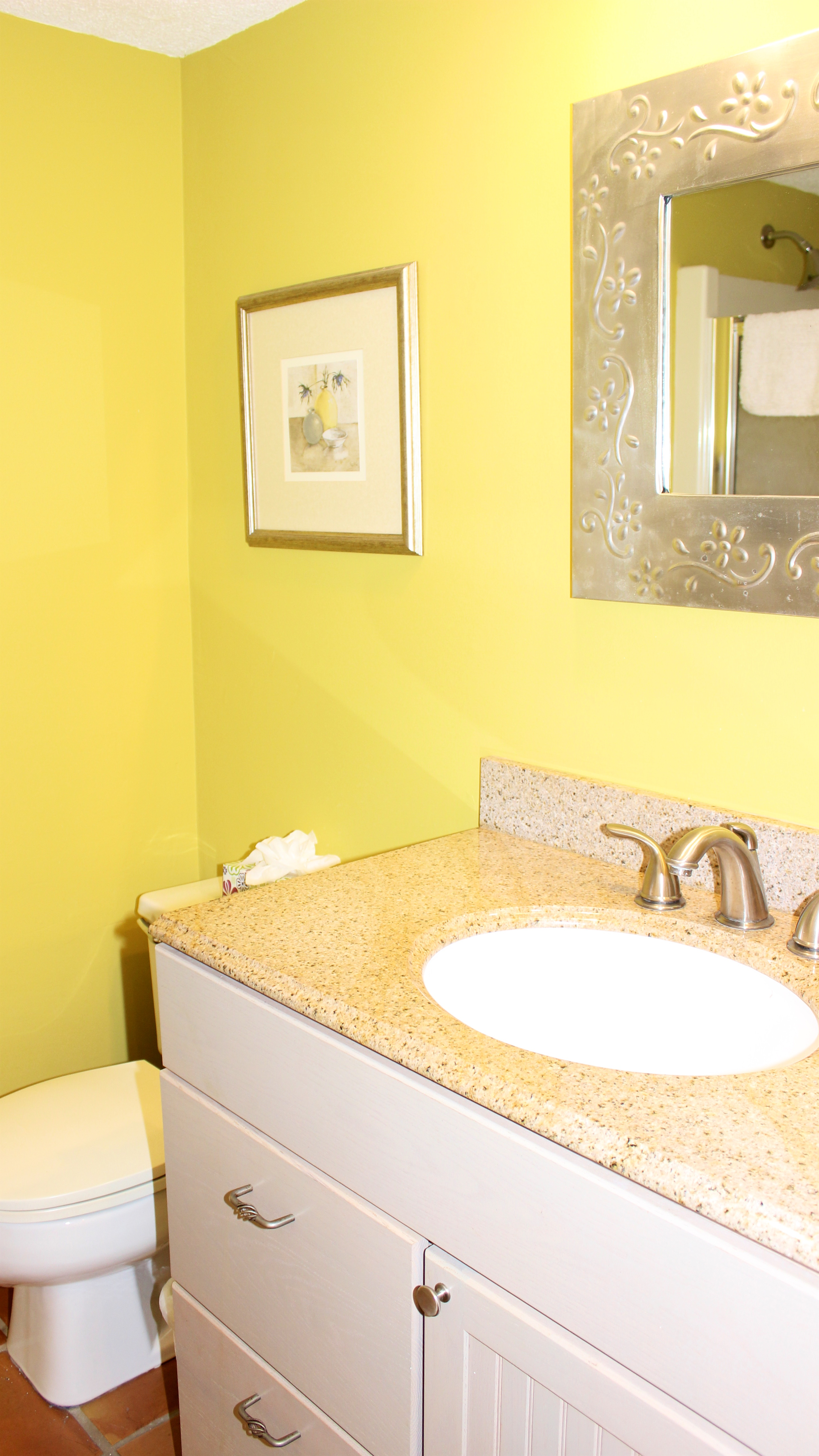 There is a full hall bath with a granite topped vanity.