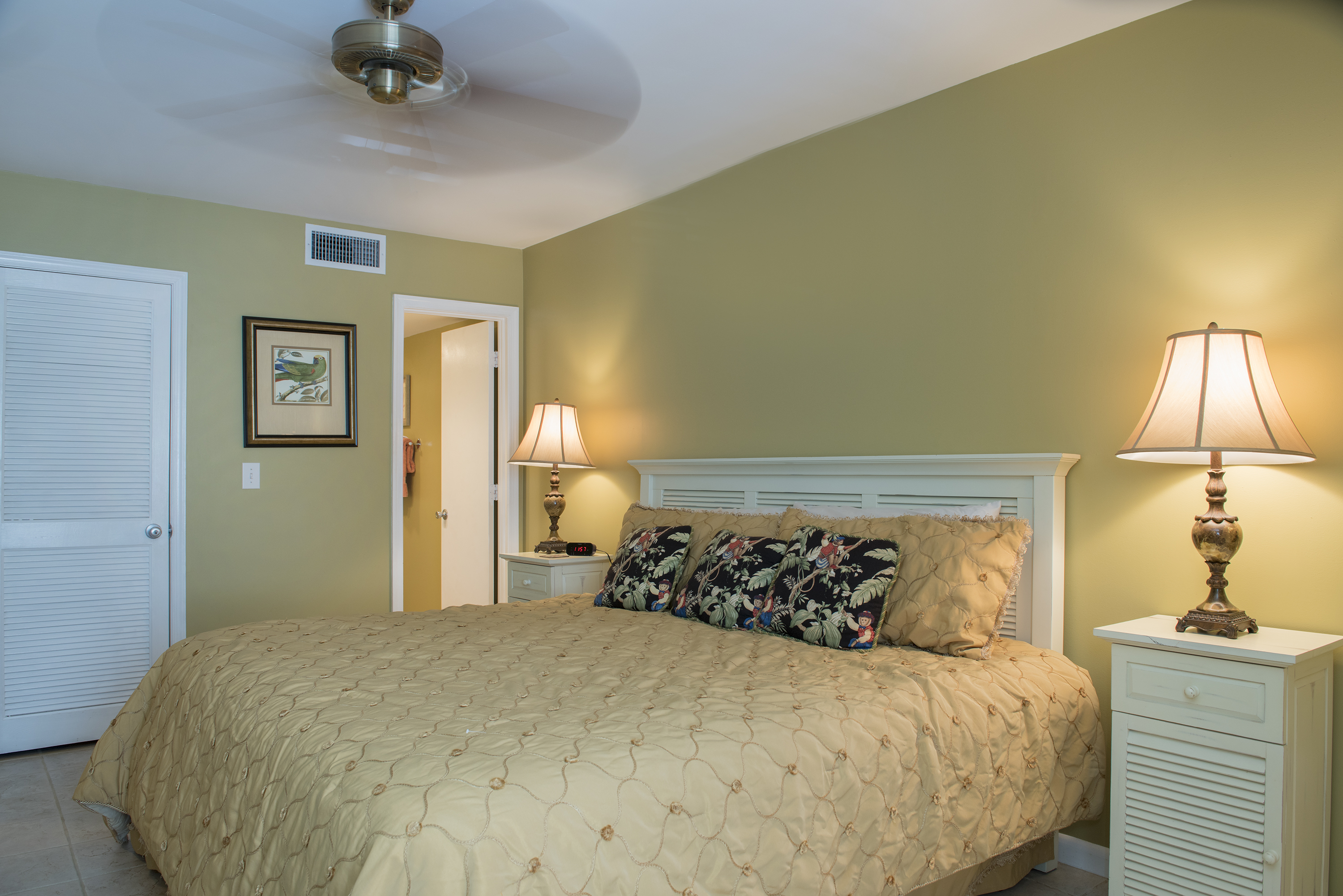 The master bedroom has a king bed and en-suite bathroom.