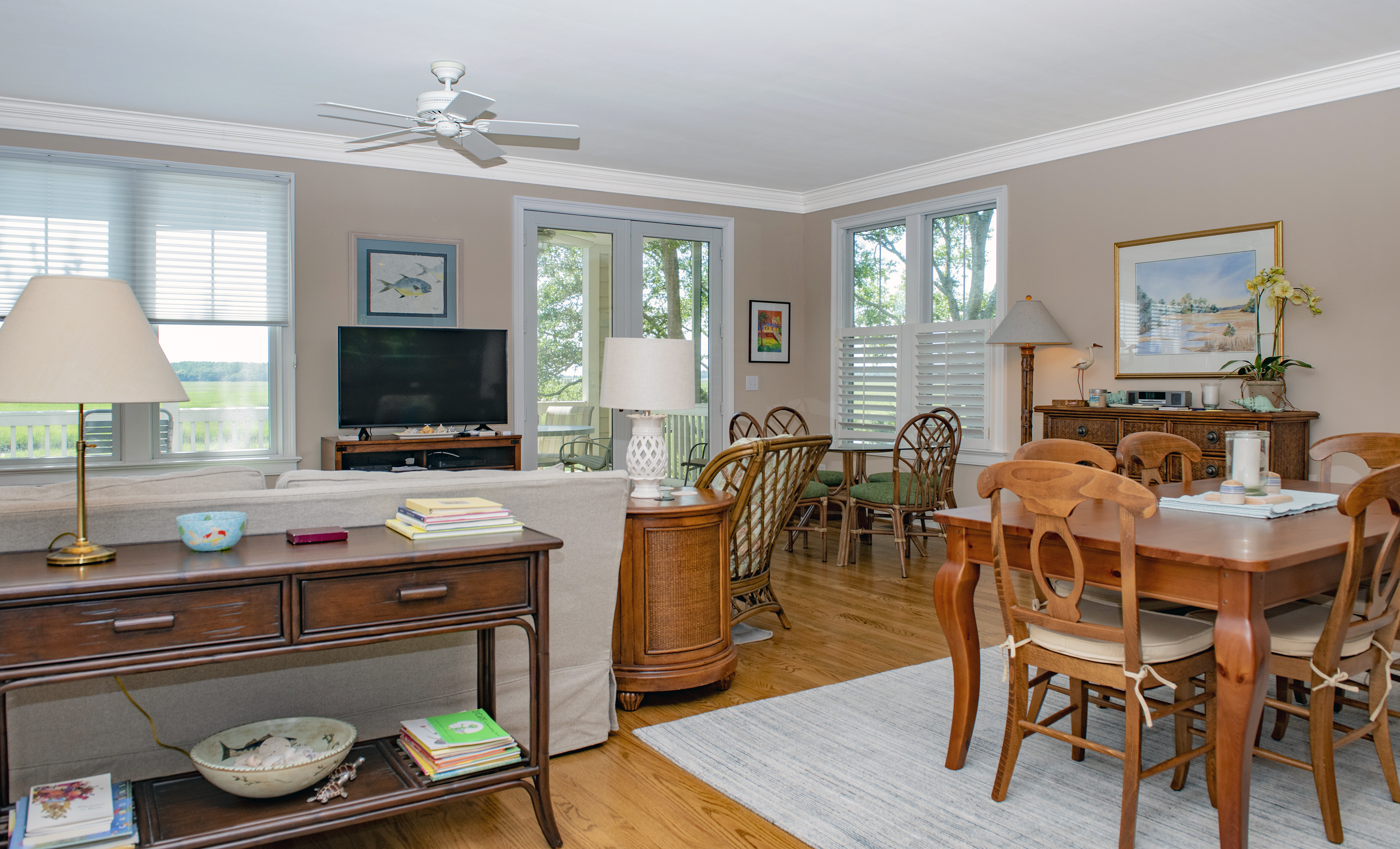 The dining area is open to the great room and kitchen.