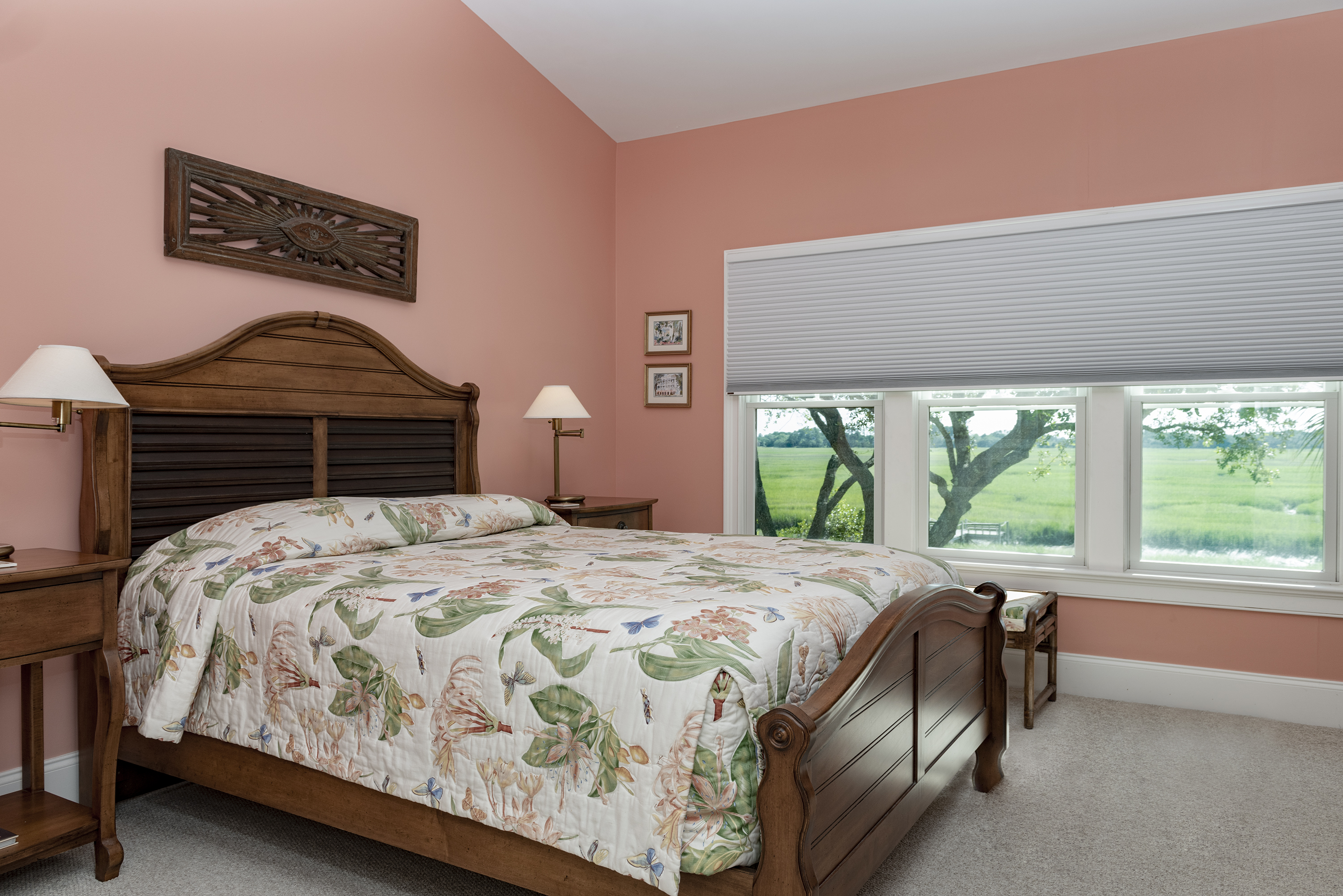 The en-suite master has a queen bed and wonderful marsh views.