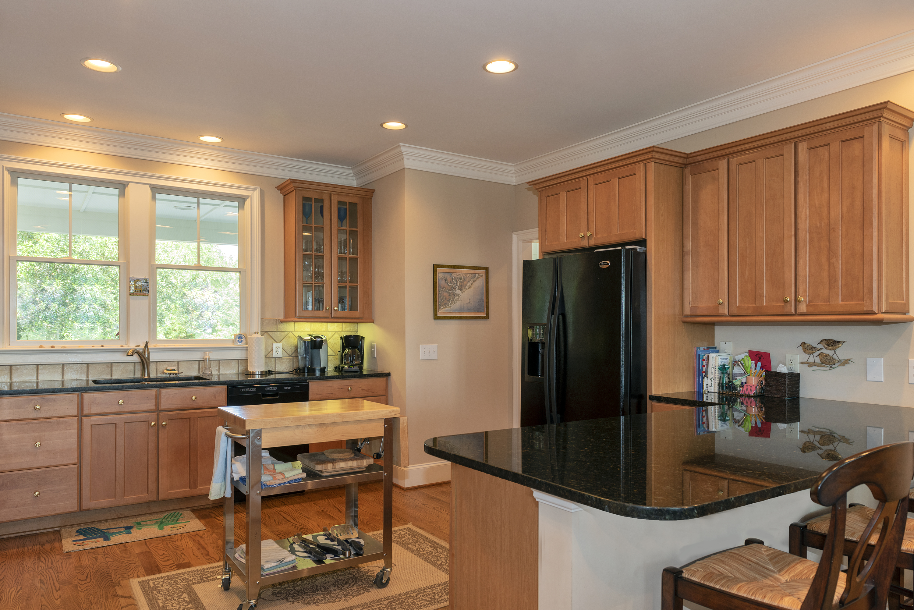 The remodeled kitchen is full of natural light.