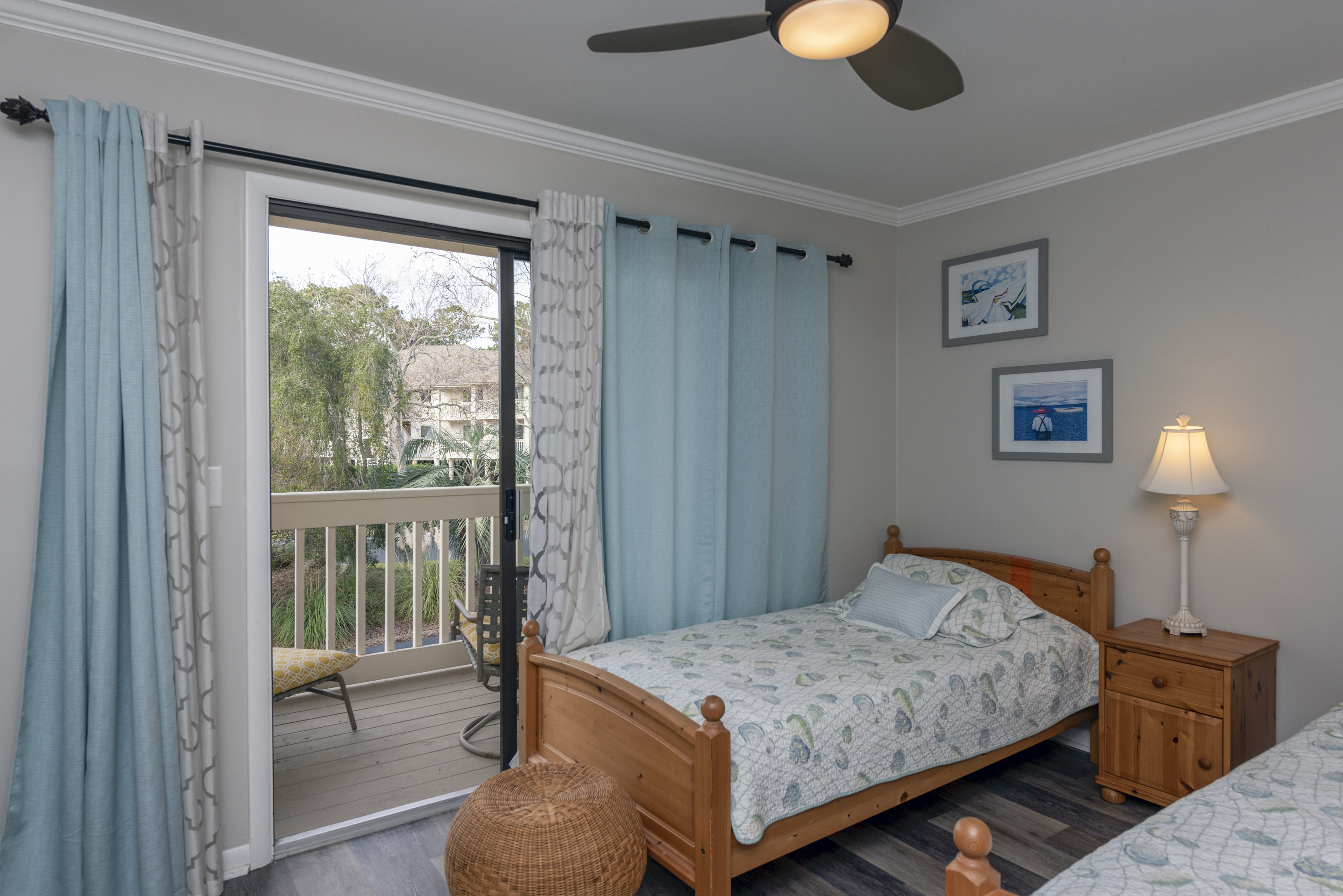 Sliding doors lead to a small porch in the guestroom.