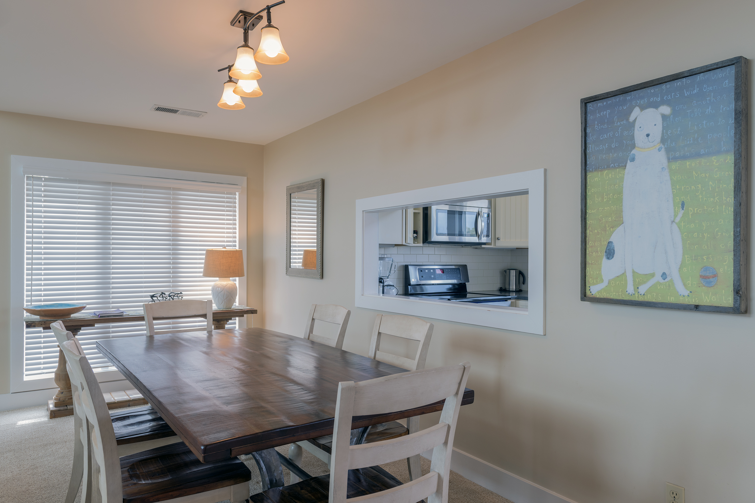 The dining table is perfect for family meals.