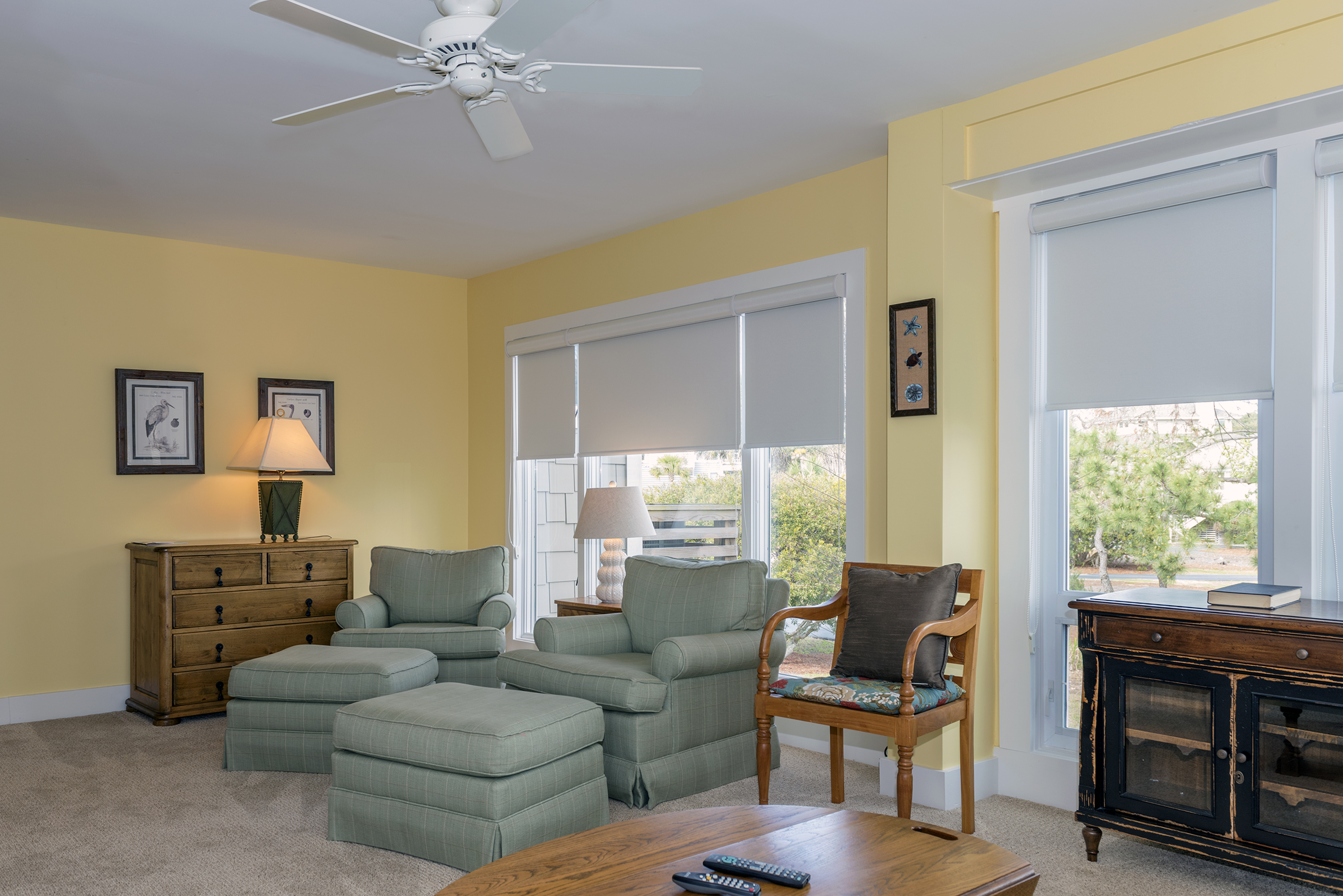 There is plenty of seating in the family room for watching TV or reading a book.