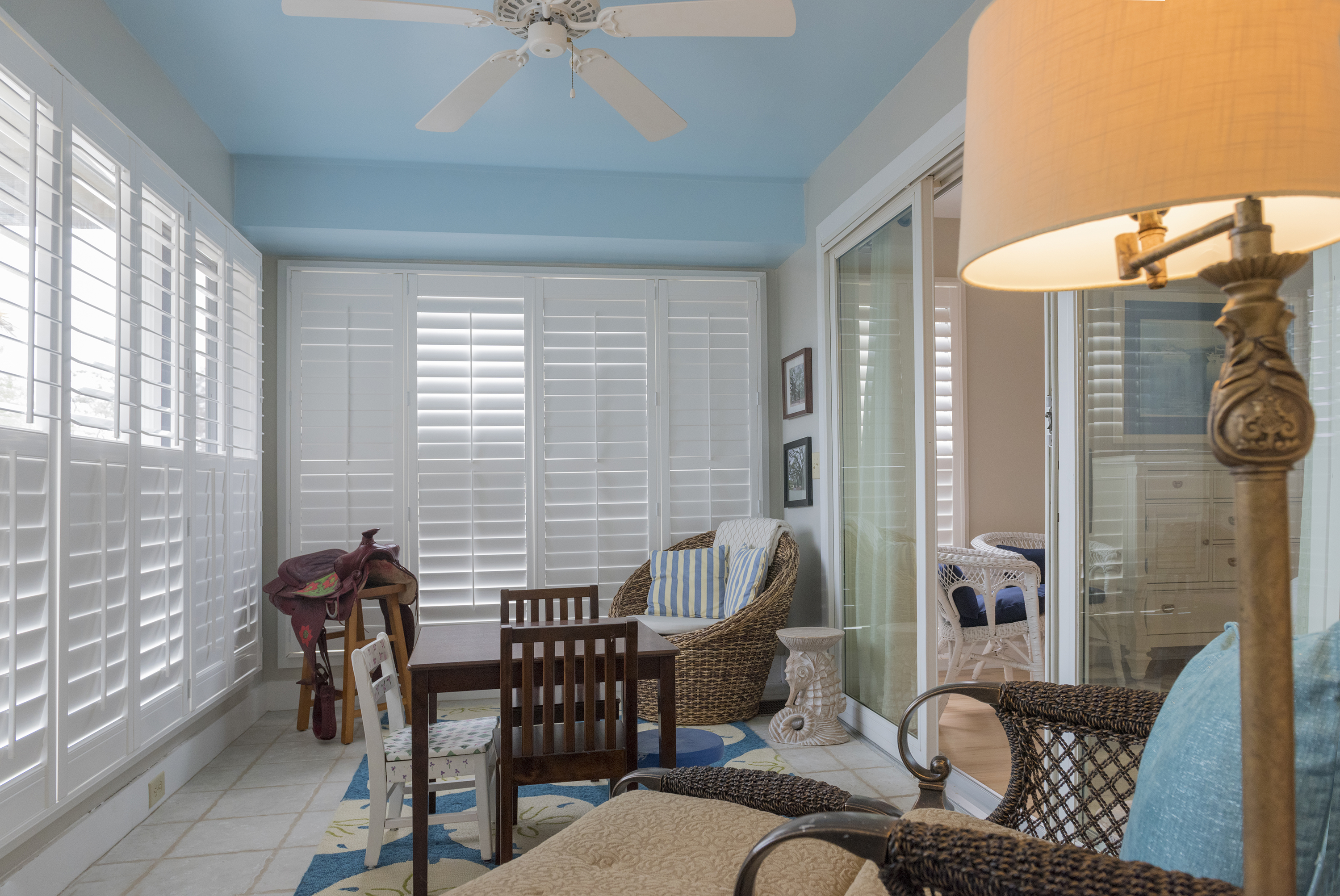 Escape to the sun room with a good book or for quiet conversation.