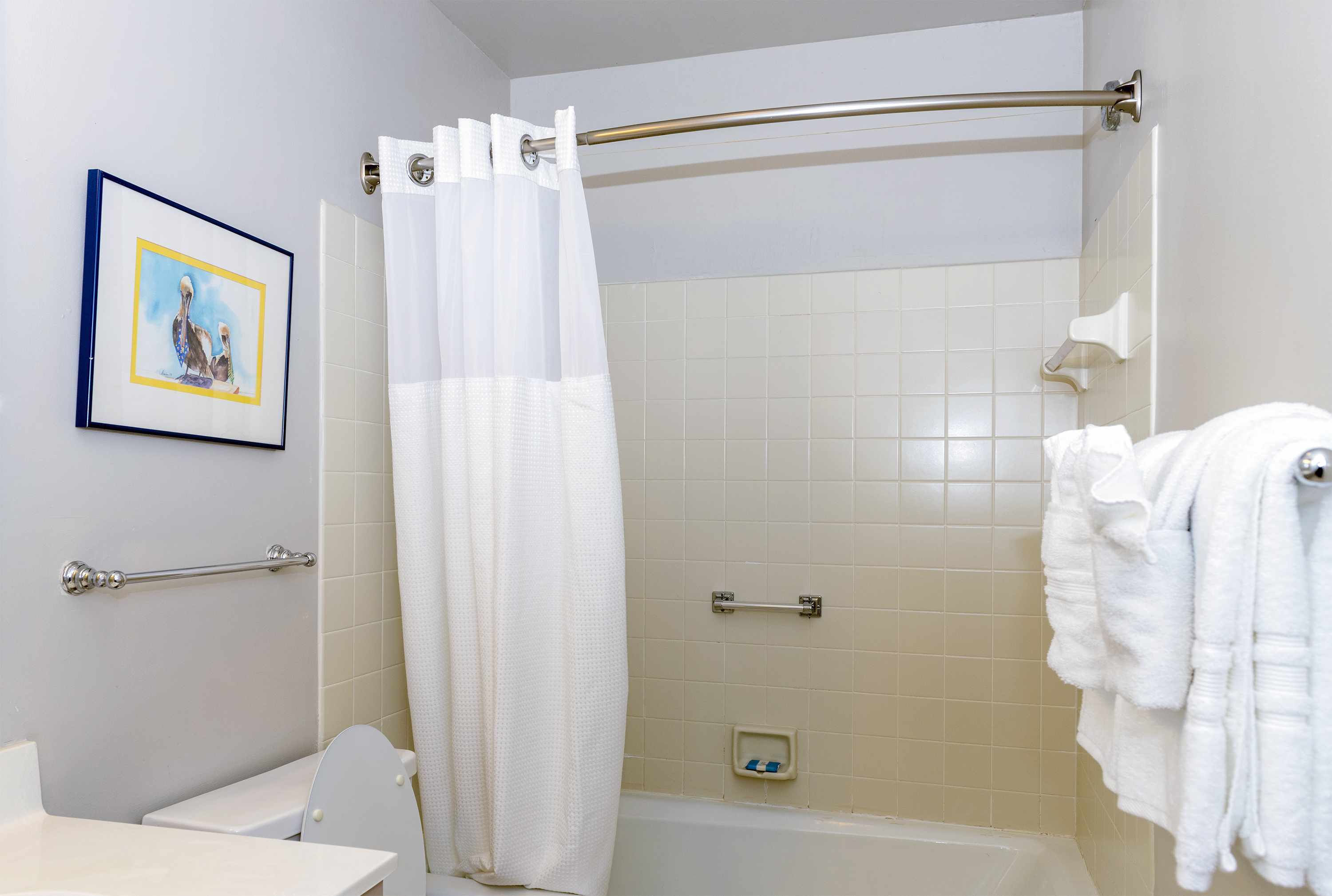 The hall bath is accessible to the 2nd and 3rd bedroom. The bath has a shower/tub.