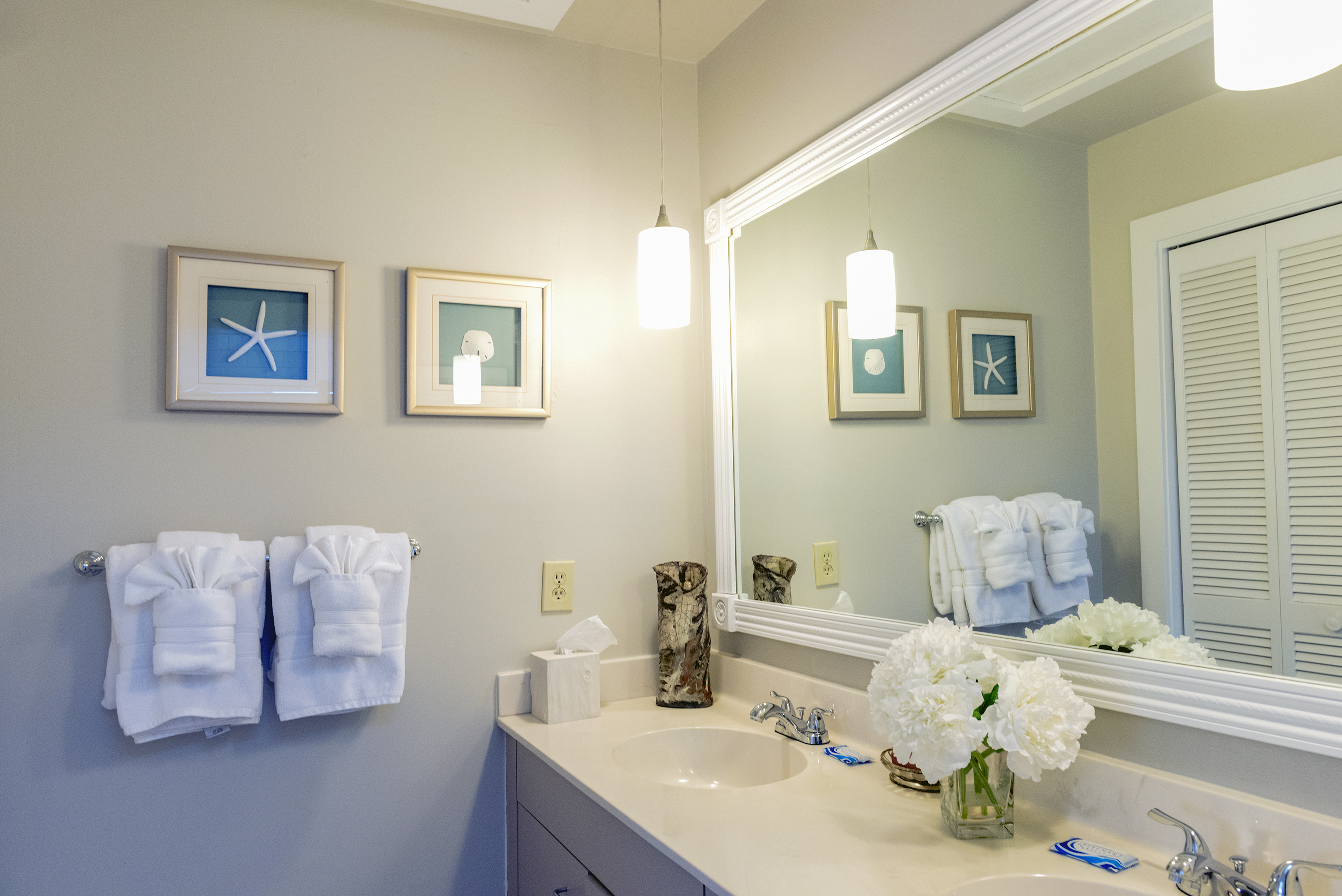 The master bath has a large two sink vanity.