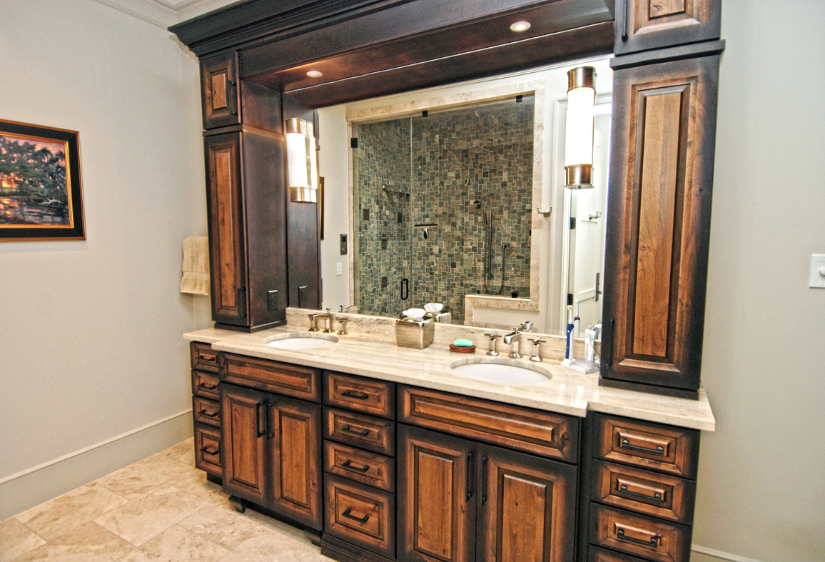 The adjoining master bath has a double sink granite topped vanity.