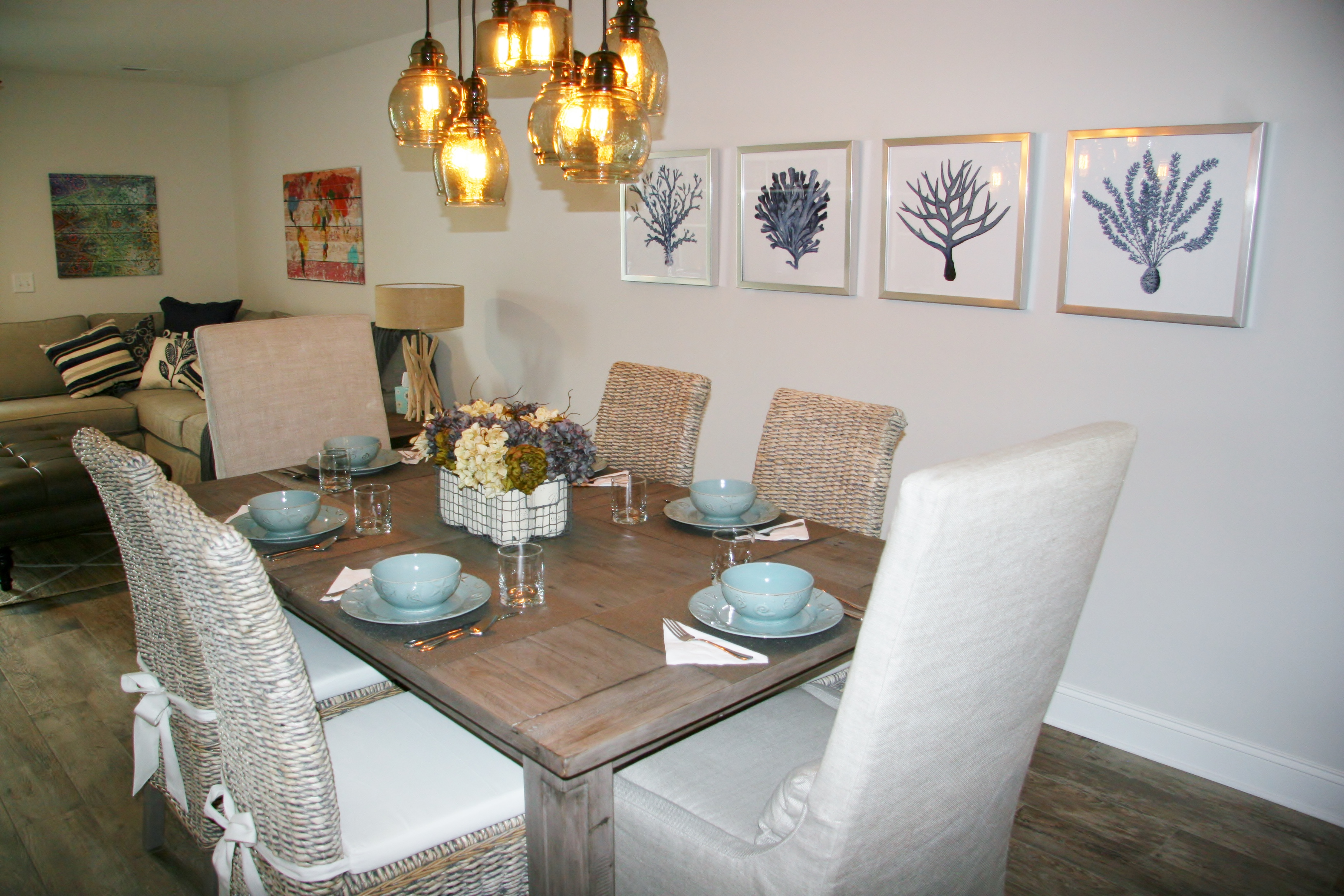 Enjoy meals at the new dining room furniture after a day at the beach.