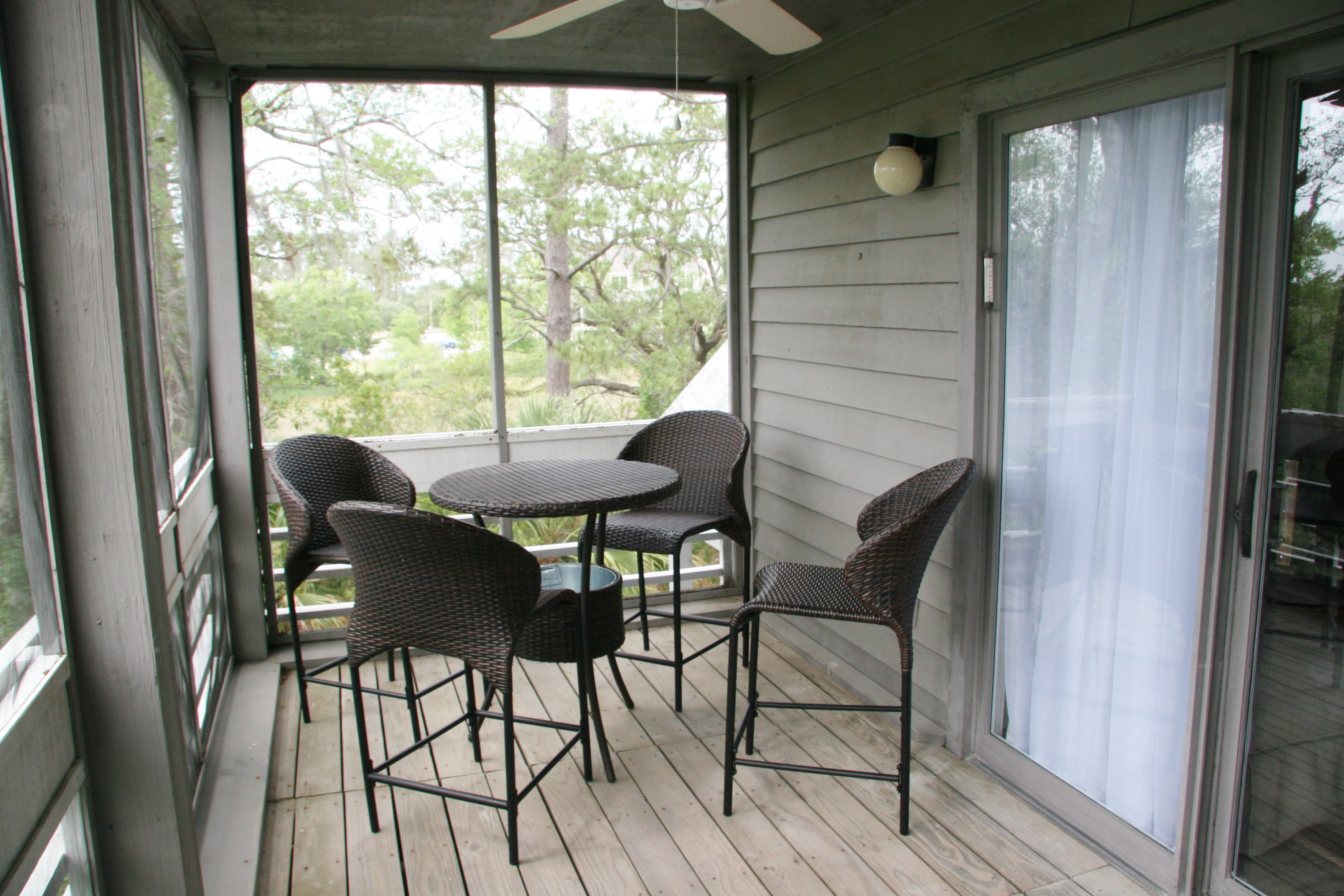 High top table on the screened in porch.