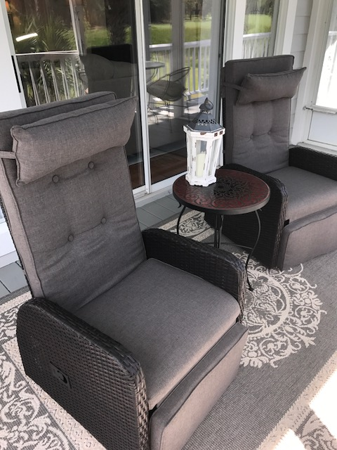 Relax in the outdoor recliners after a busy day.