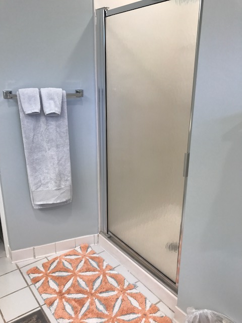 There is a walk-in shower, and an enclosed toilet area.