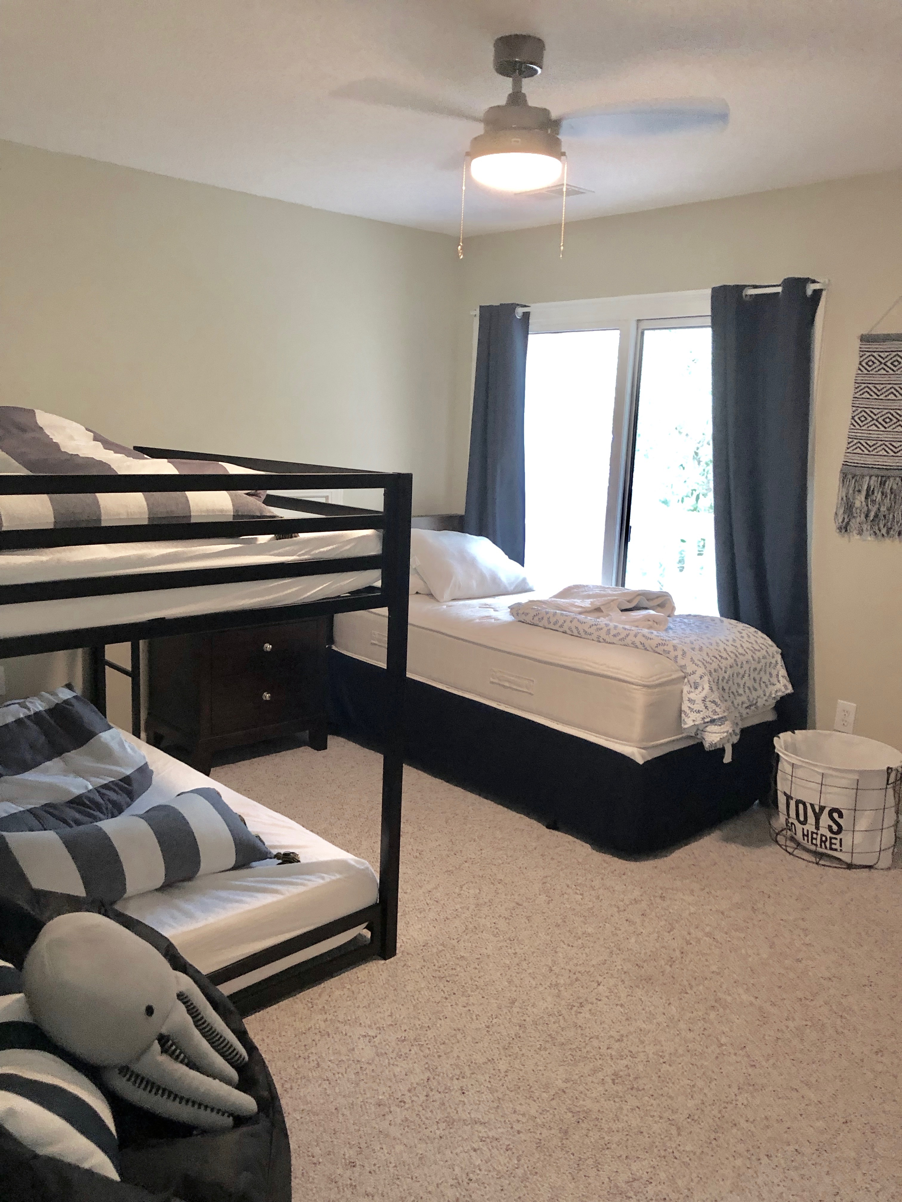 Recently Added Full Over Full Bunk Beds with Twin Bed Guest Bedroom. Weight capacity for each bed is maximum 300lbs.