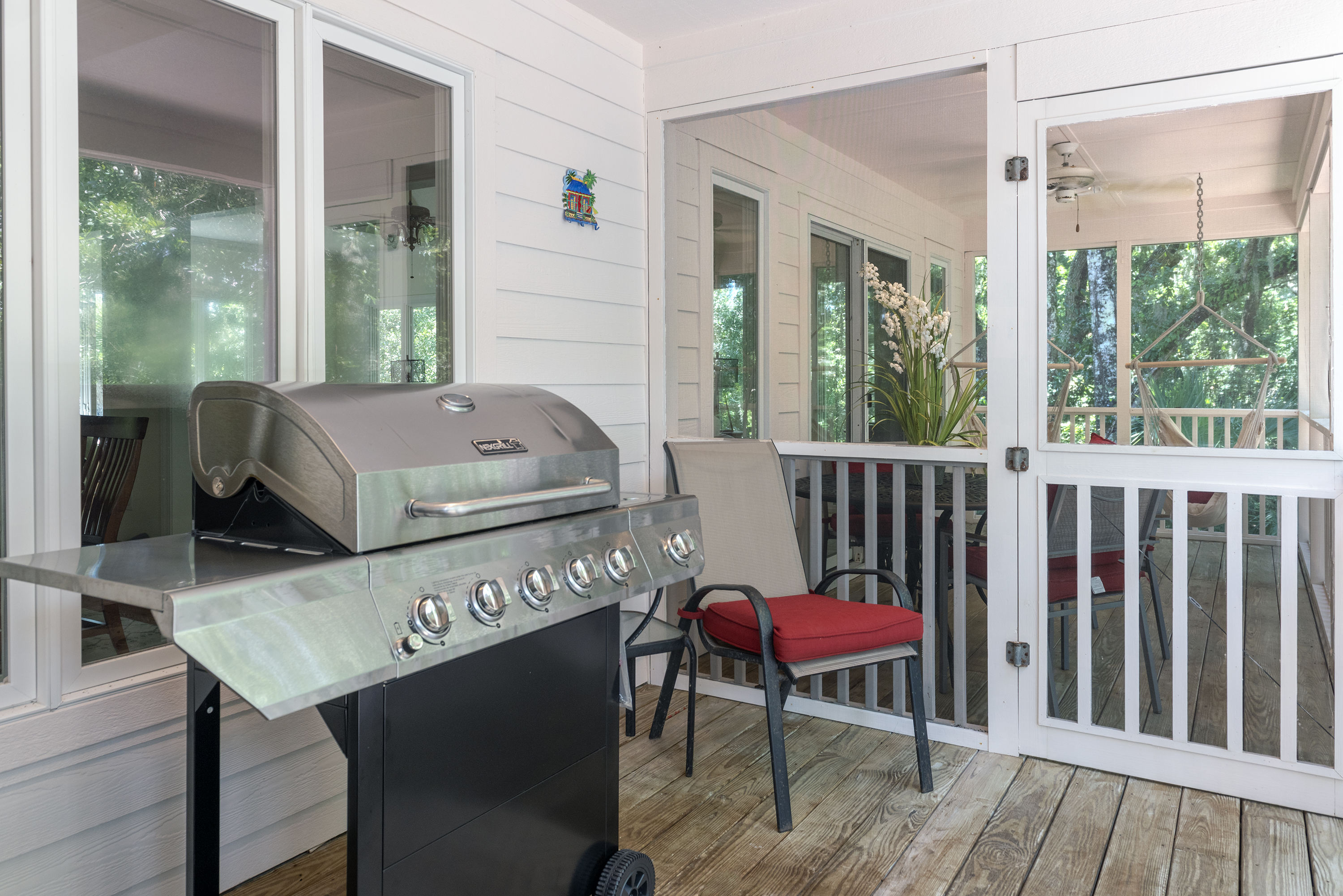 Open deck with propane grill