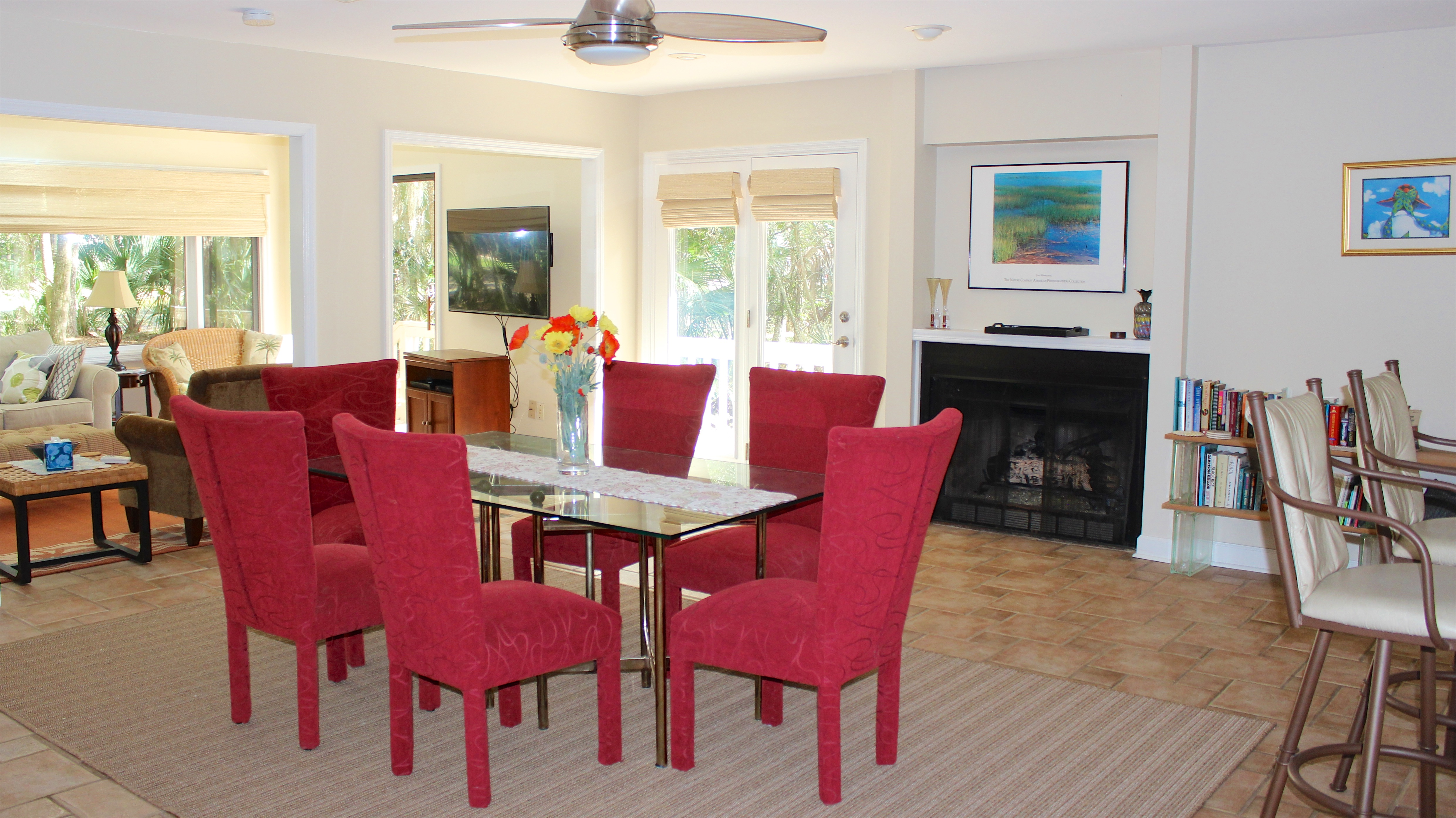 The open floor plan offers plenty of space for everyone to spread out.
