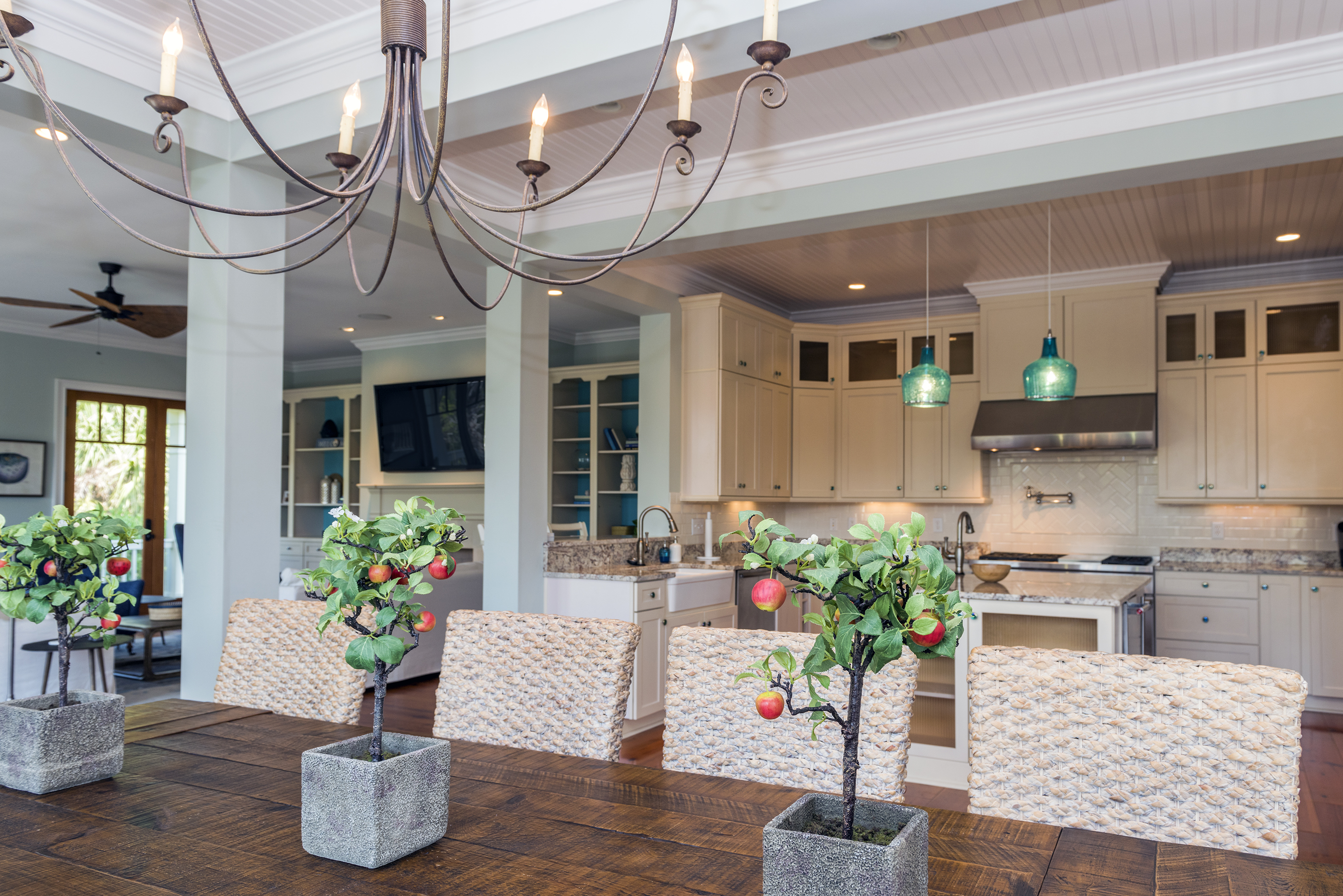 The kitchen is integrated into the great room and dining area, so everyone is included!