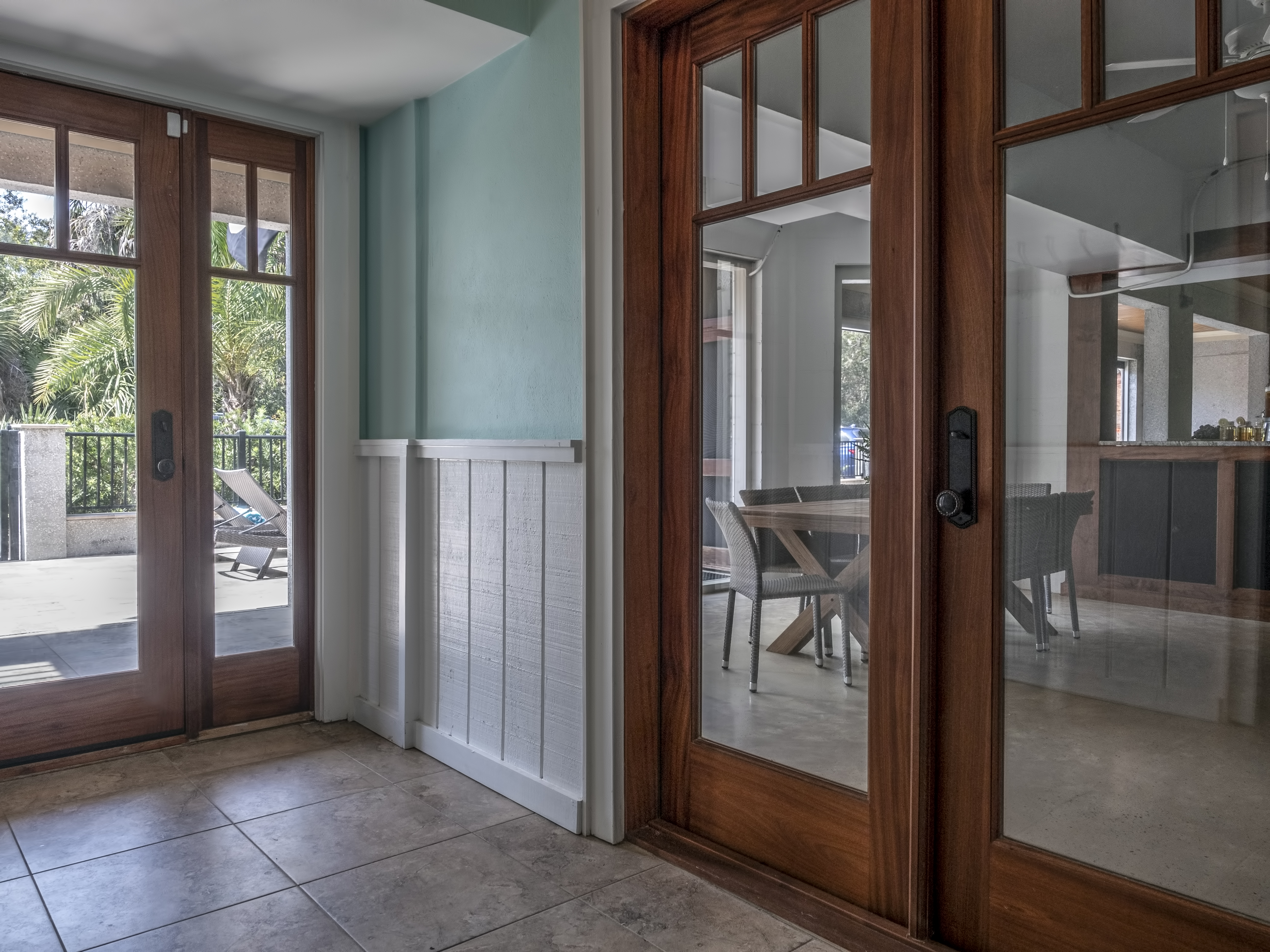 Lower level entrance into home and lanai area