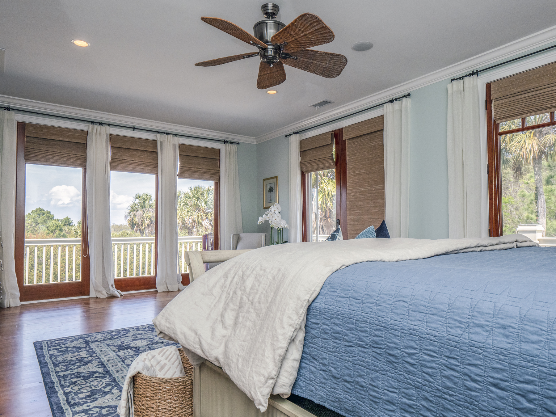 Three sets of french doors flank the master bedroom walls!