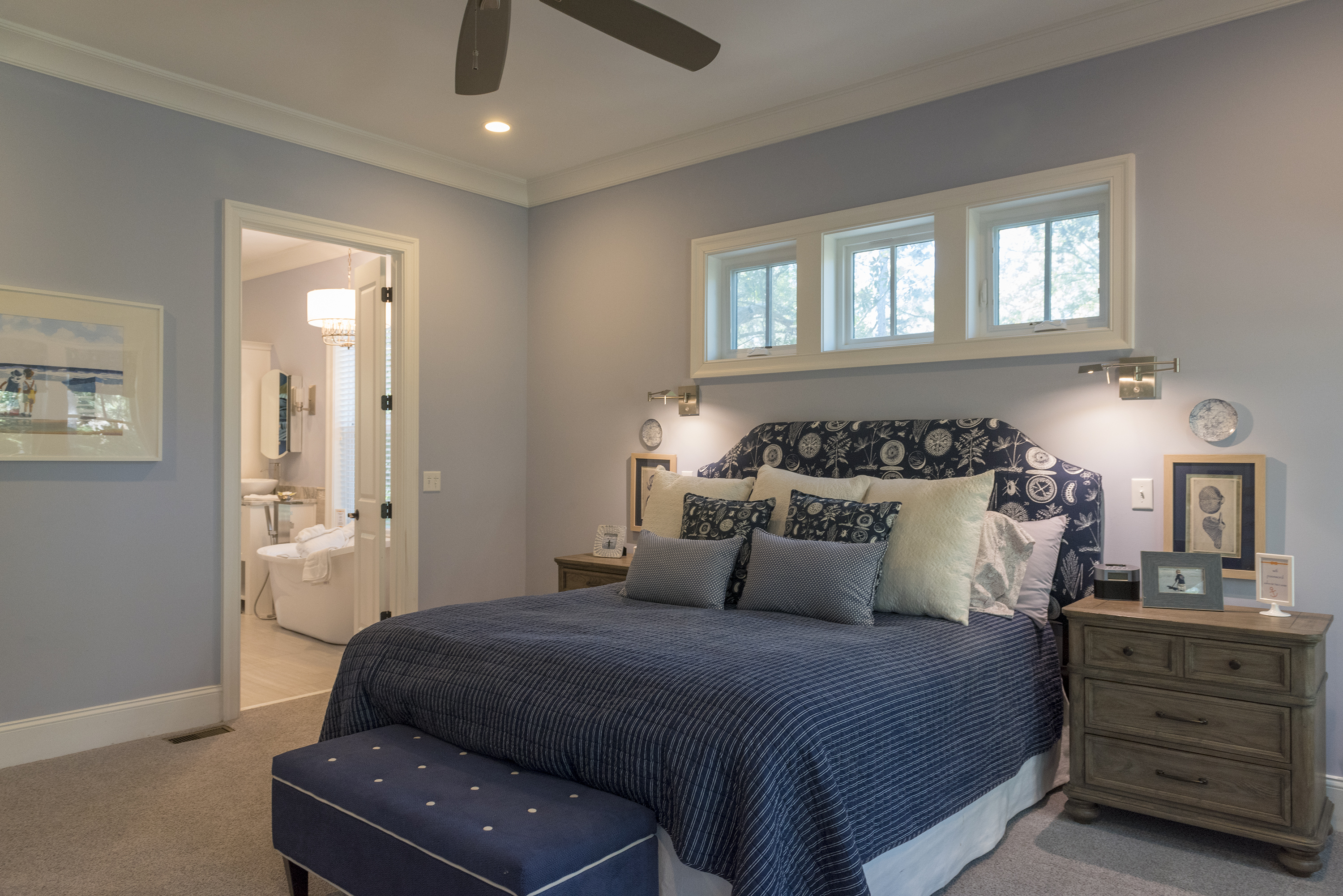 On the 1st floor is the master suite. It has a king bed & en suite bath.