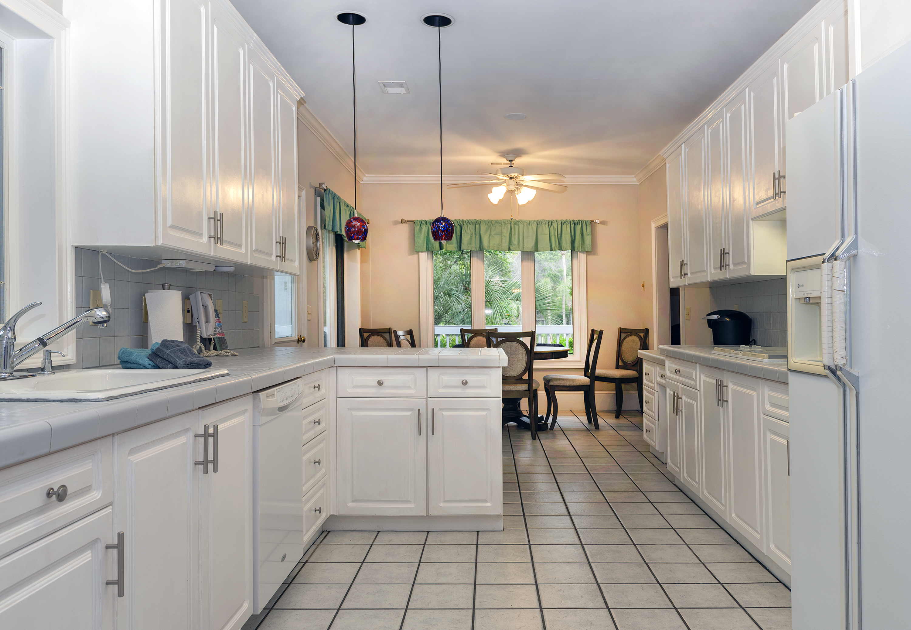 The remodeled gourmet kitchen with new appliances.