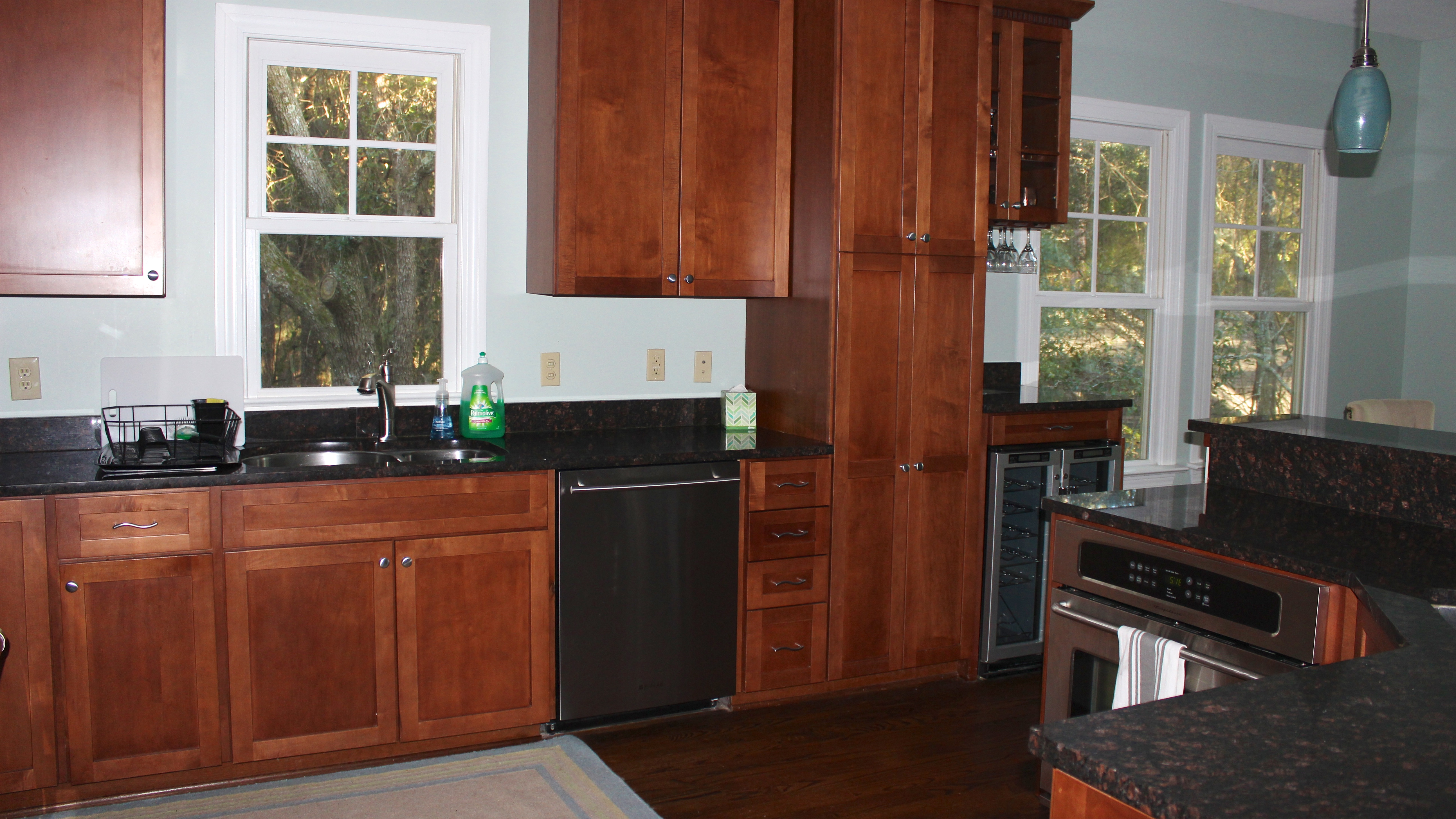 There is a large pantry for your food and a wine cooler for your drinks.