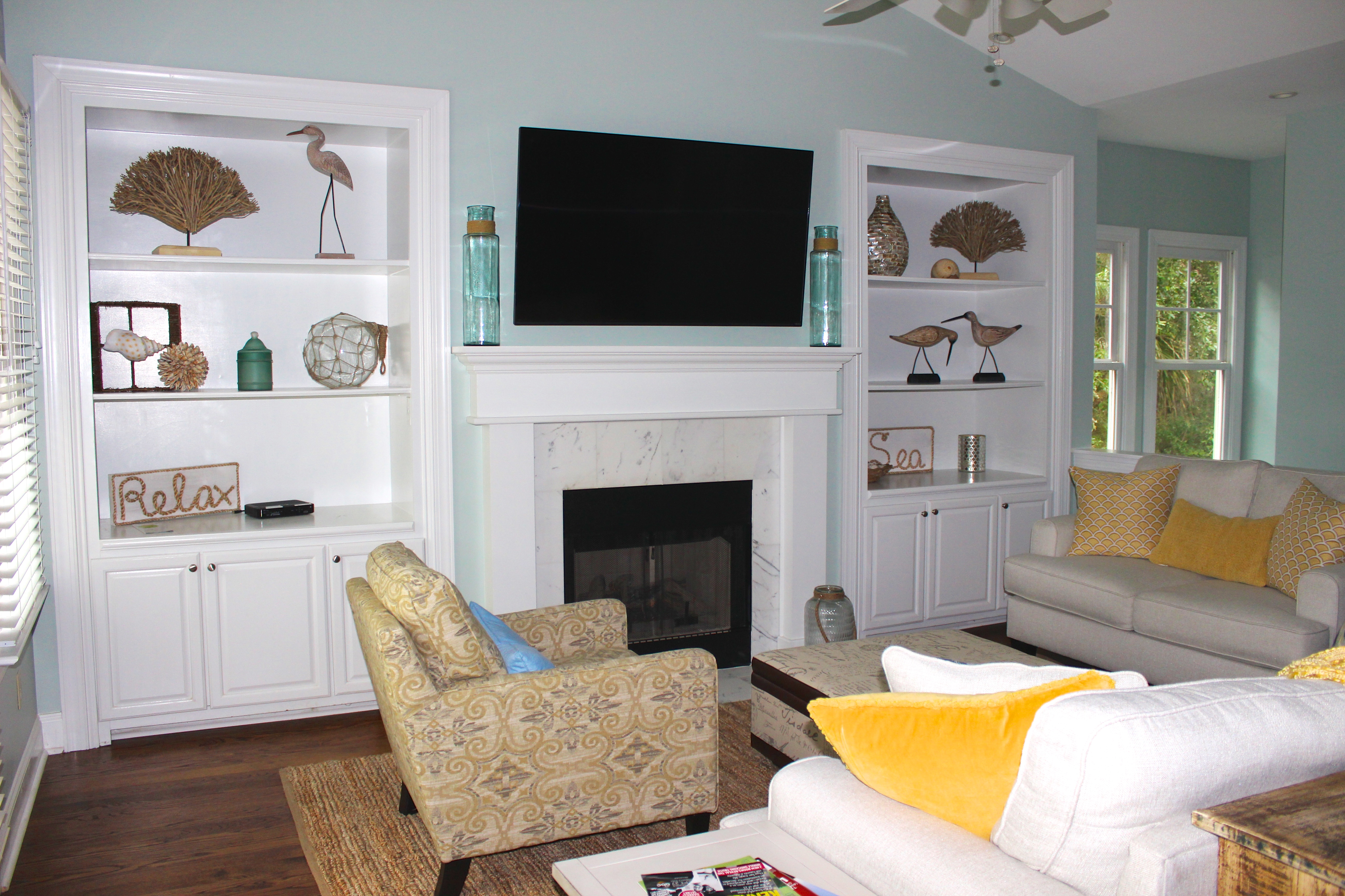 Watch your favorite shows or movies on the large wall mounted HDTV.